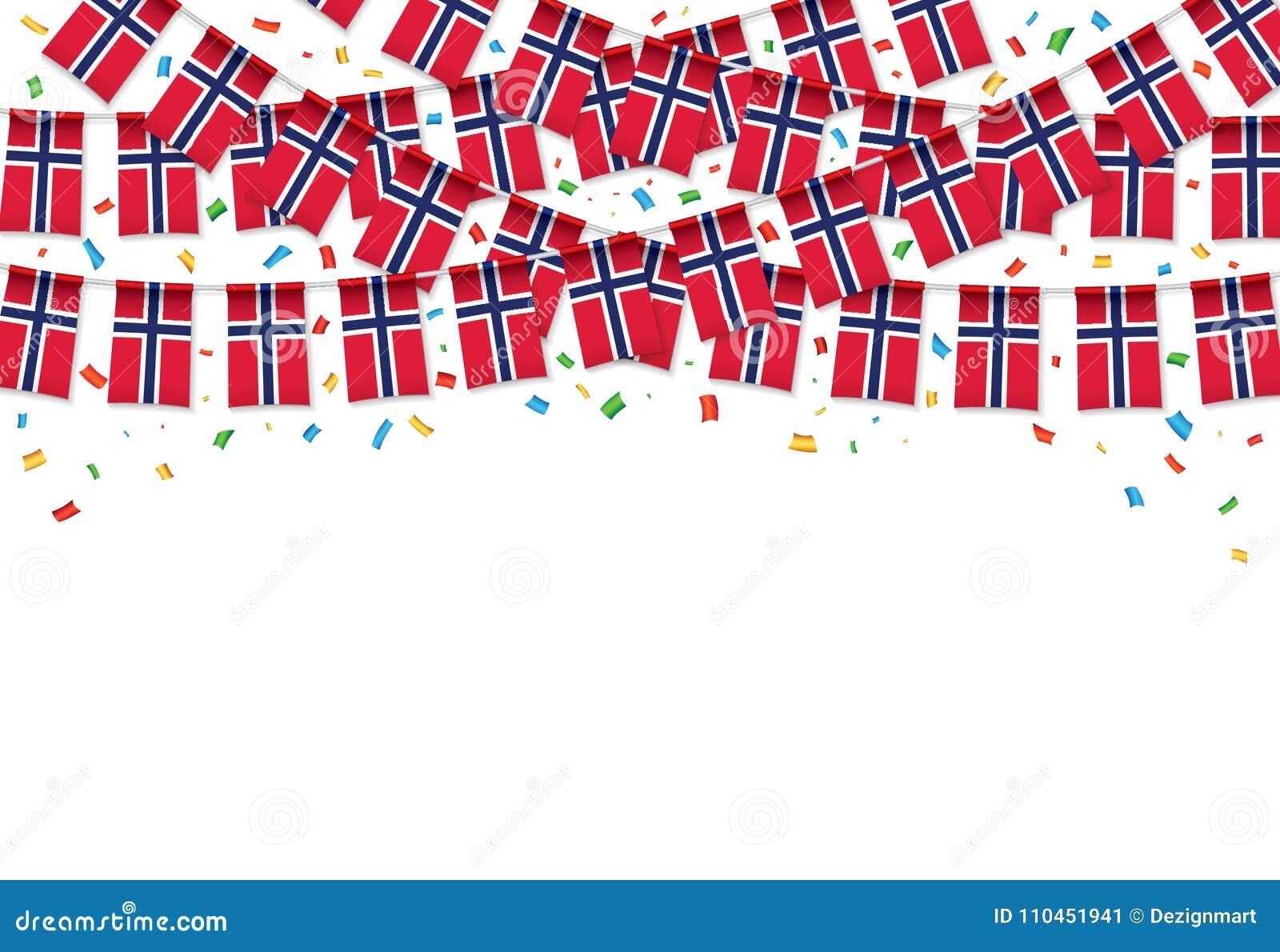 Vit bakgrund för Norge flaggagirland med konfettier, hängningbunting för den Norge självständighetsdagen