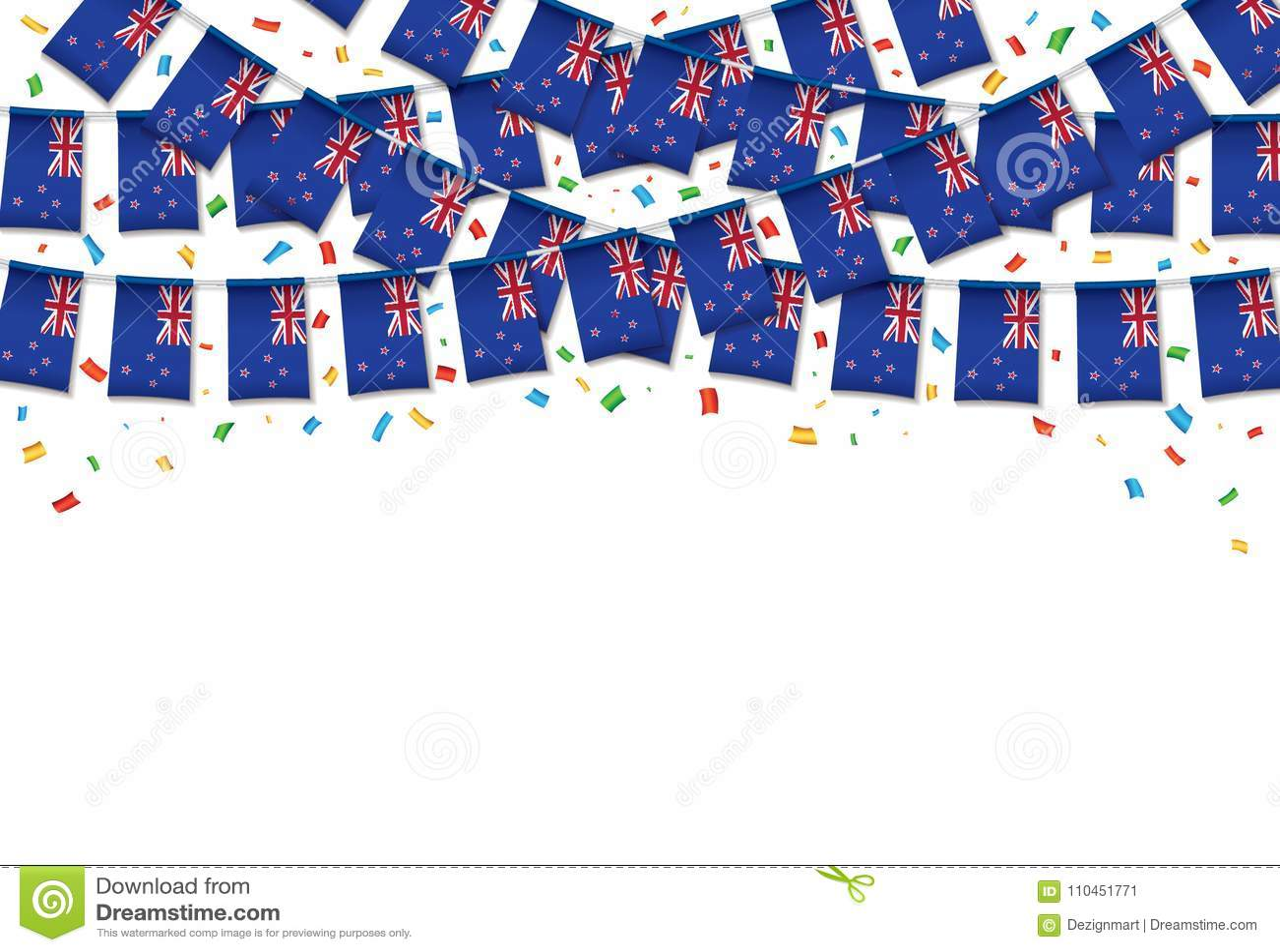 Vit bakgrund för nyazeeländsk flaggagirland med konfettier, hängningbunting för självständighetsdagen
