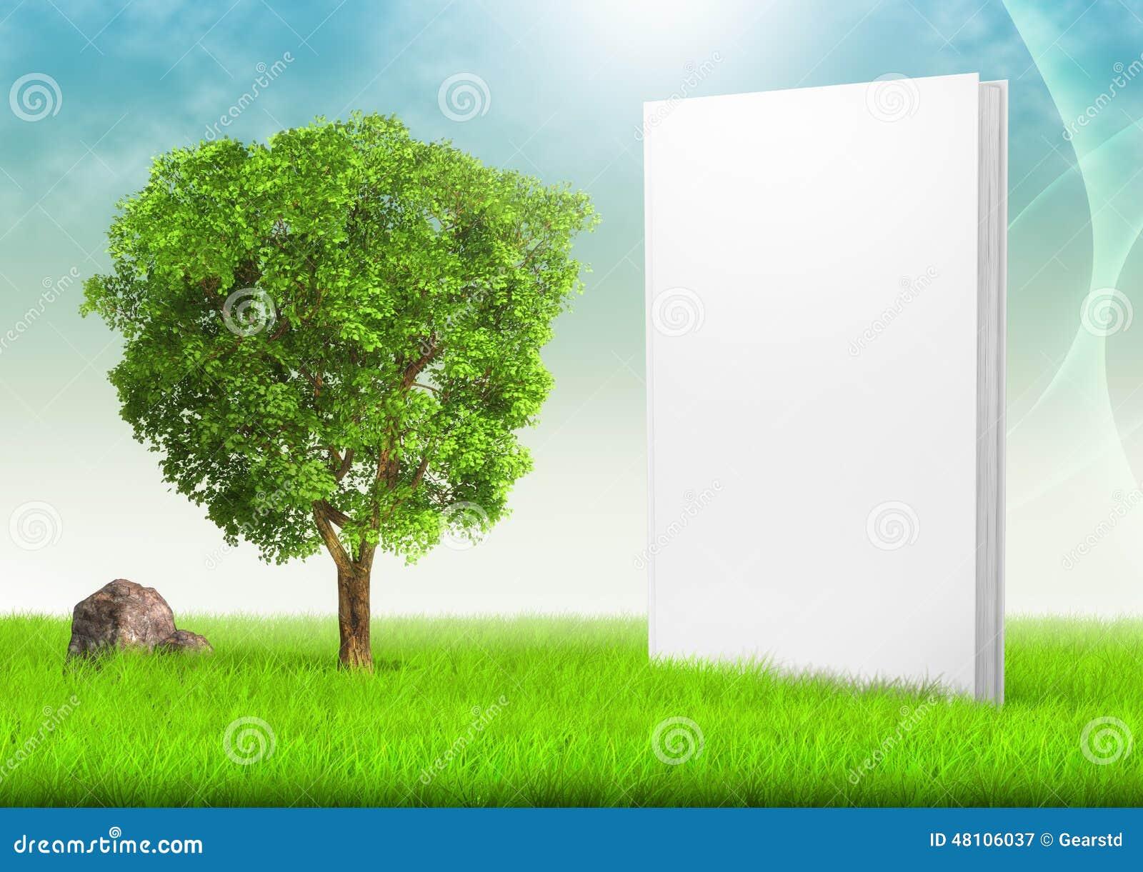 Vit bok och träd i fält av gräs under blått