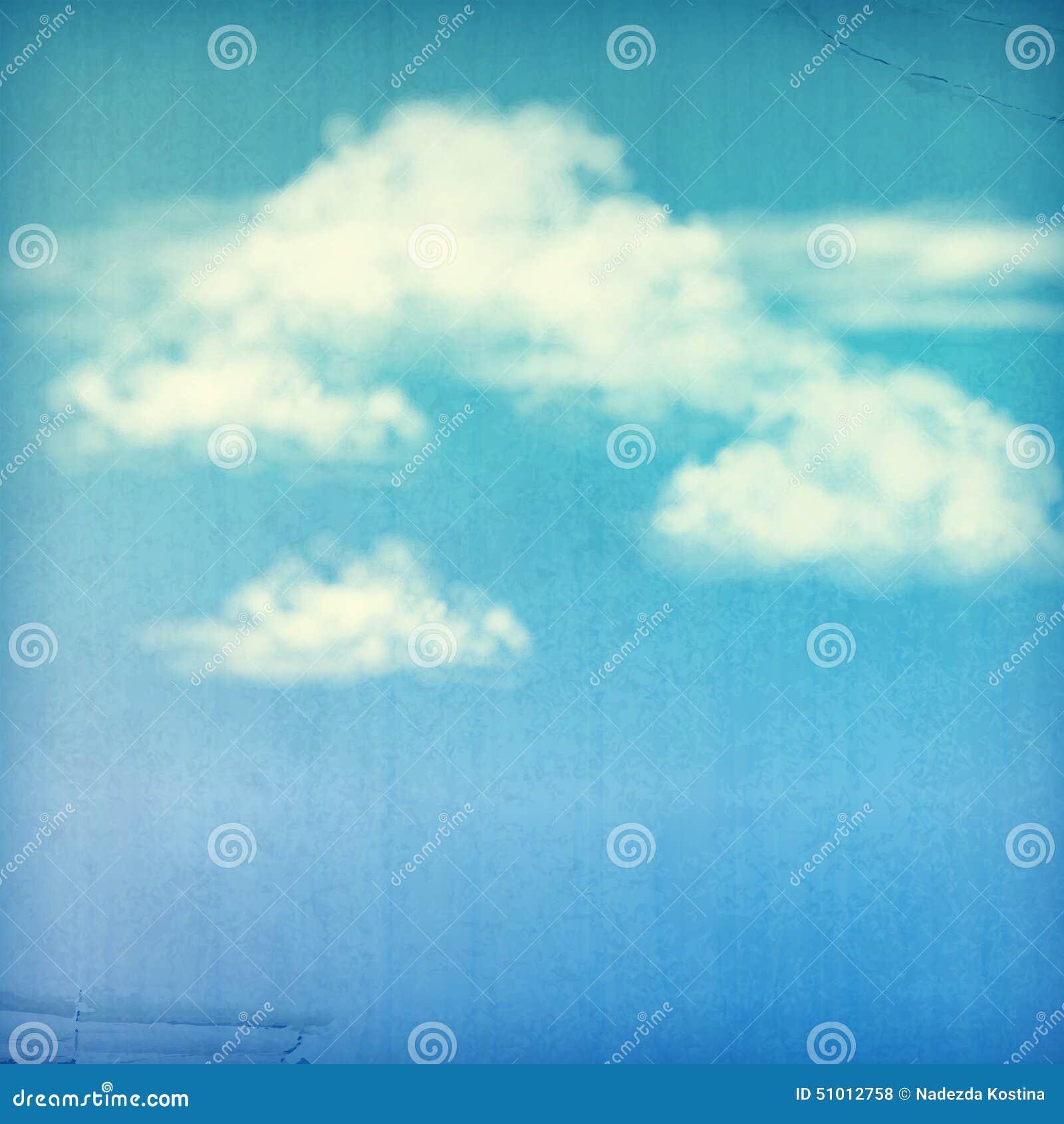 Vit för blå himmel fördunklar tappningbakgrund