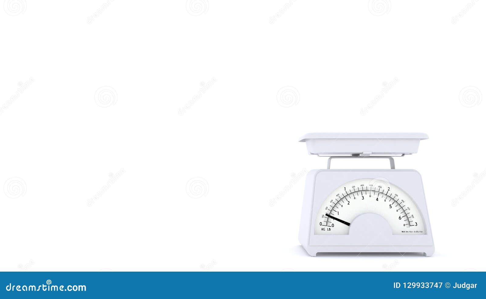 Vit gammal kökviktvåg på vit bakgrund med fritt utrymme för text eller logo kopiera avstånd framförande 3d