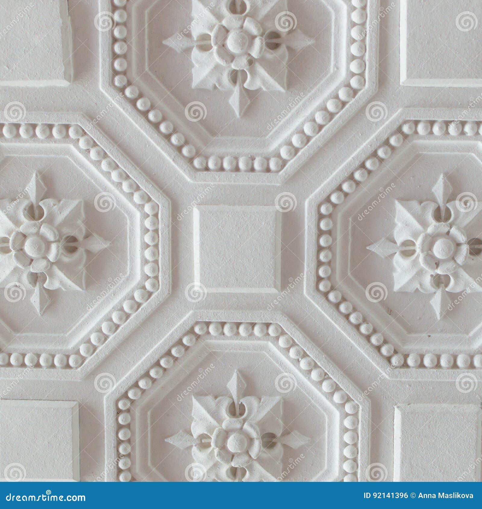 Vit geometrisk dekorativ modell av taket för bakgrund, fyrkant