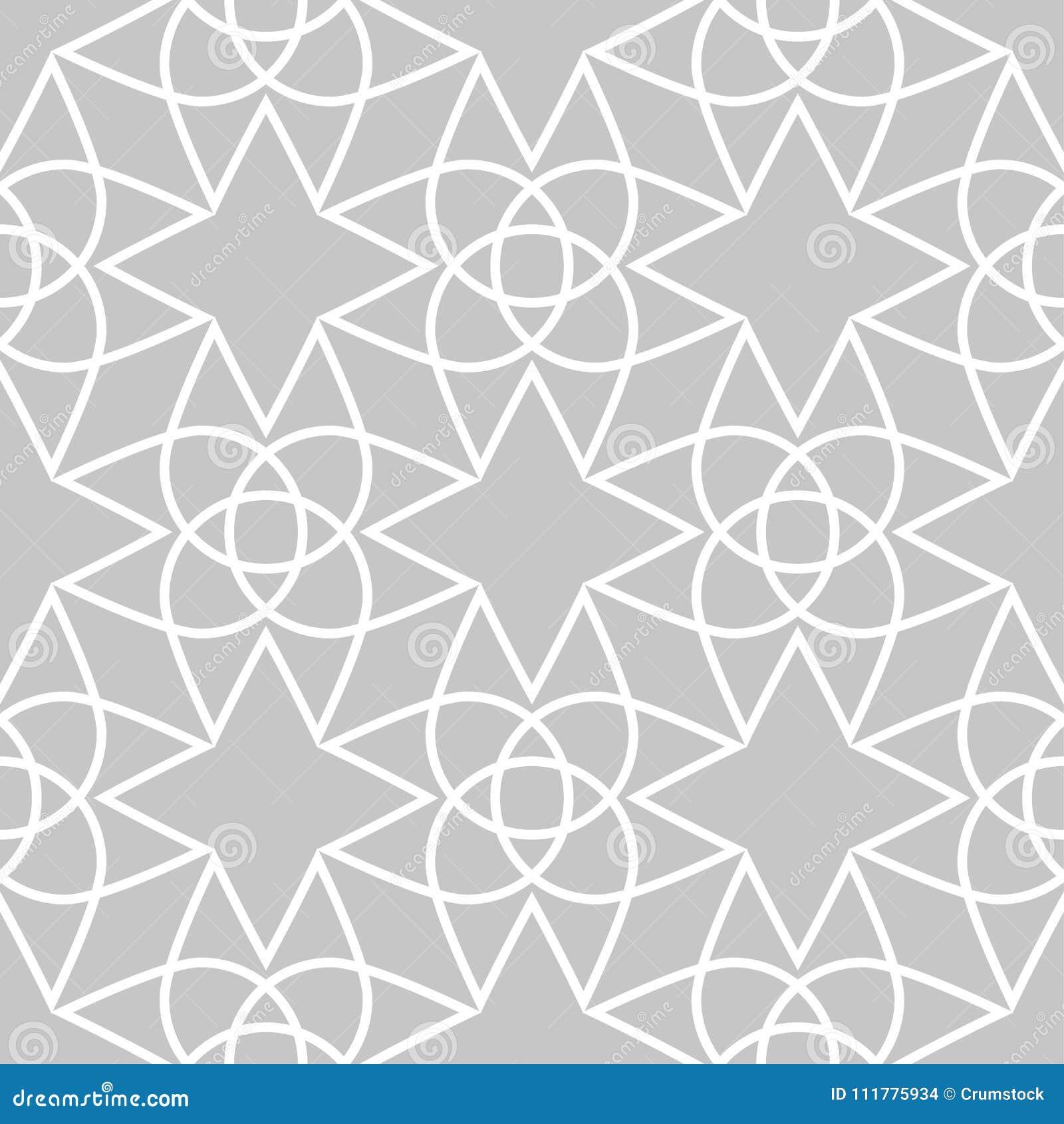 Vit geometrisk prydnad för grå färger och seamless modell