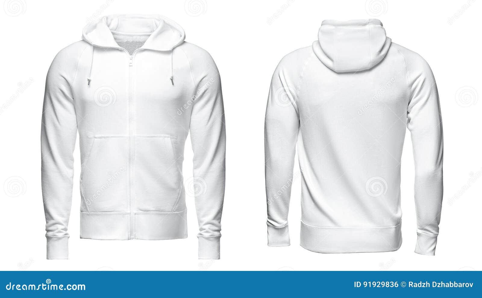 Vit hoodie, tröjamodell som isoleras på vit bakgrund