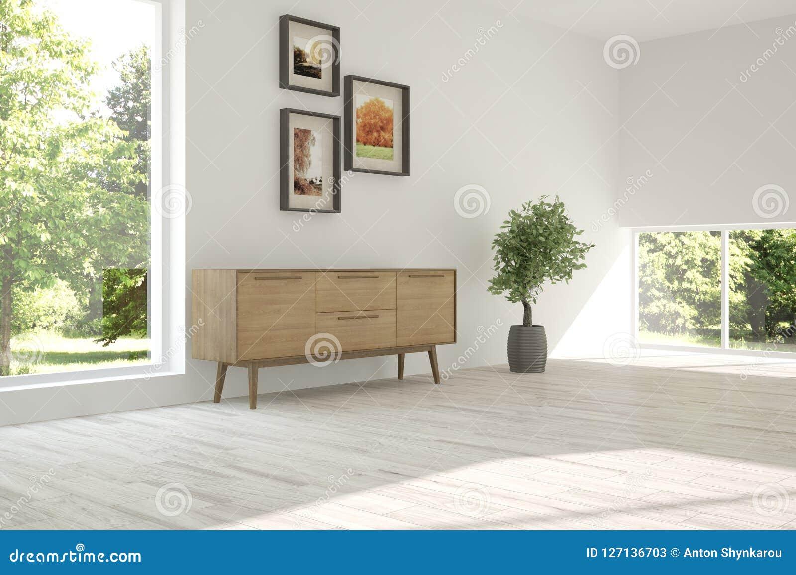Vit inredesign av vardagsrum med modernt möblemang