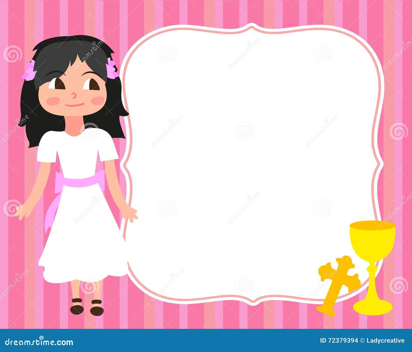 Vit klänning för första liten flicka för nattvardkortmall, inbjudan, kopp, kors, vektor, utrymme för text, bakgrund