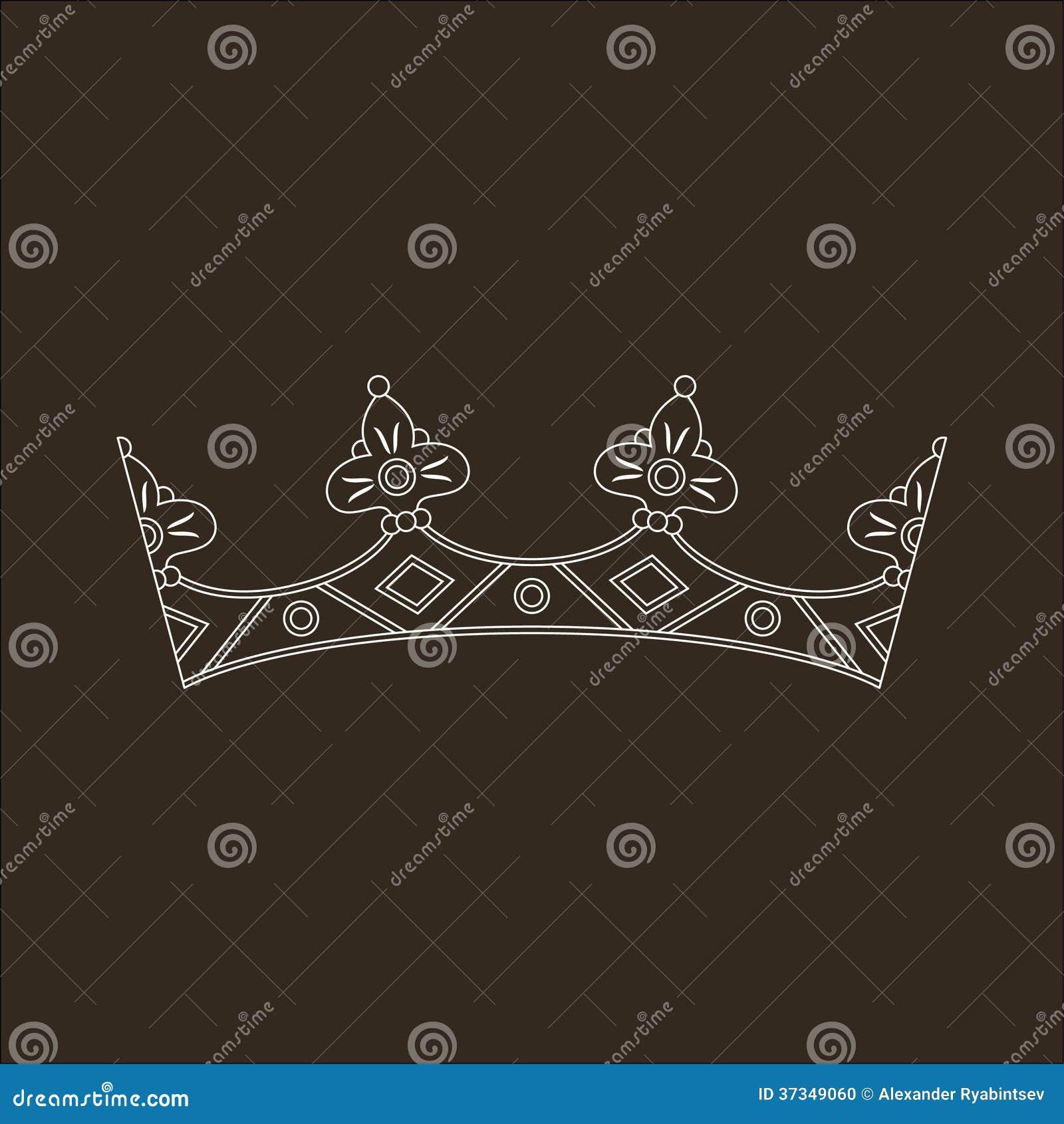 Vit krona på den svarta bakgrunden