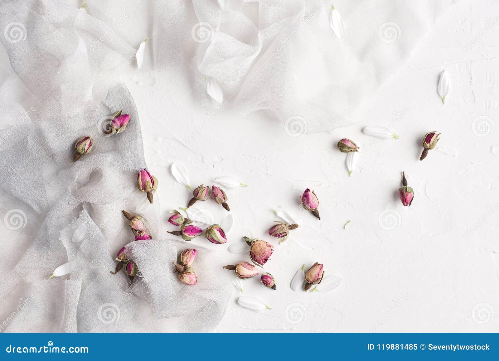 Vit kvinnlig bakgrund med silke, vita kronblad och torkat steg