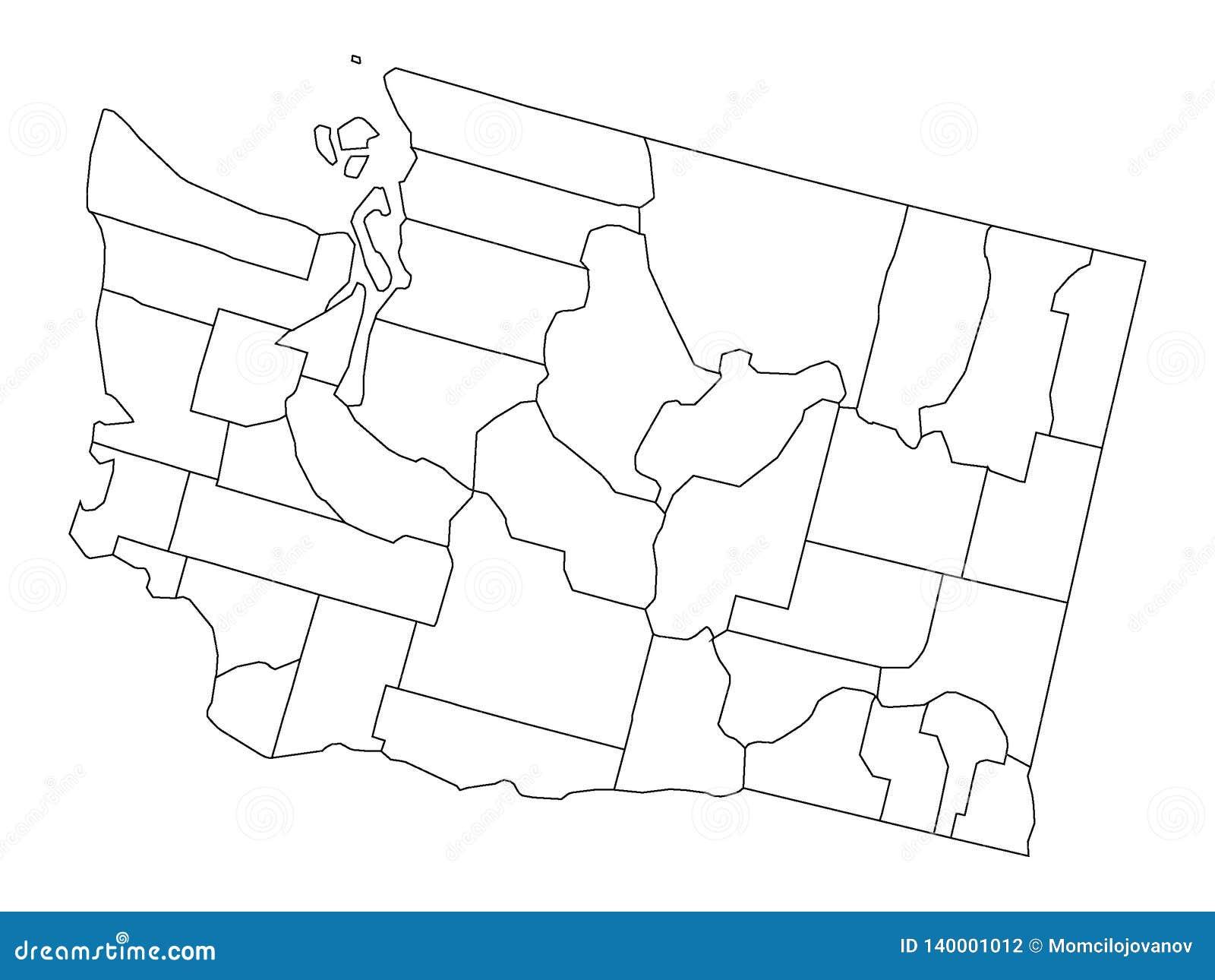 Vit länöversikt av USA-staten av Washington