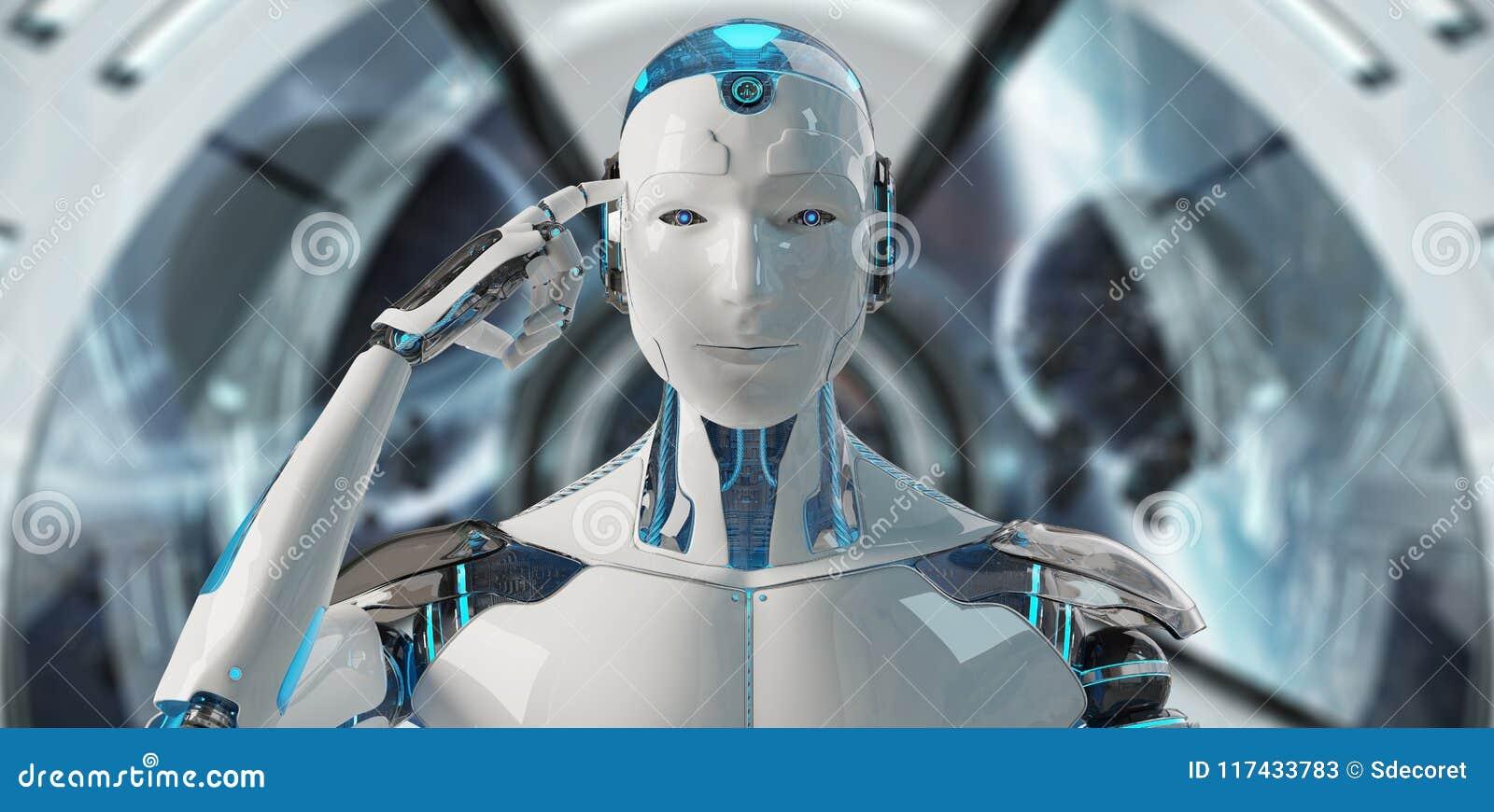 Vit manlig cyborg som tänker och trycker på hans tolkning för huvud 3D