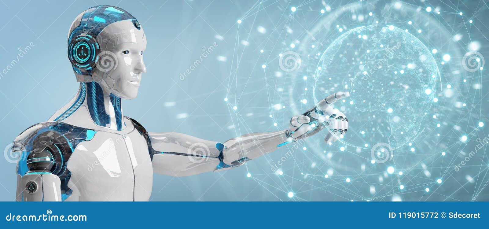Vit manlig robot genom att använda den digitala tolkningen för skärmmanöverenhet 3D