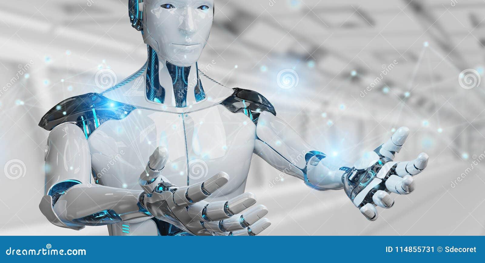 Vit manrobot genom att använda tolkningen för anslutning för digitalt nätverk 3D