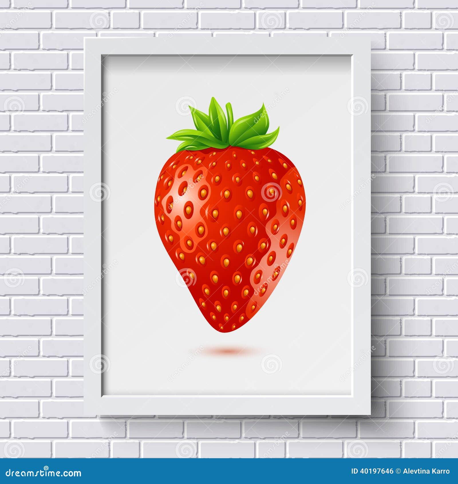 Vit modell för tegelstenvägg med bildramen och jordgubbe i den