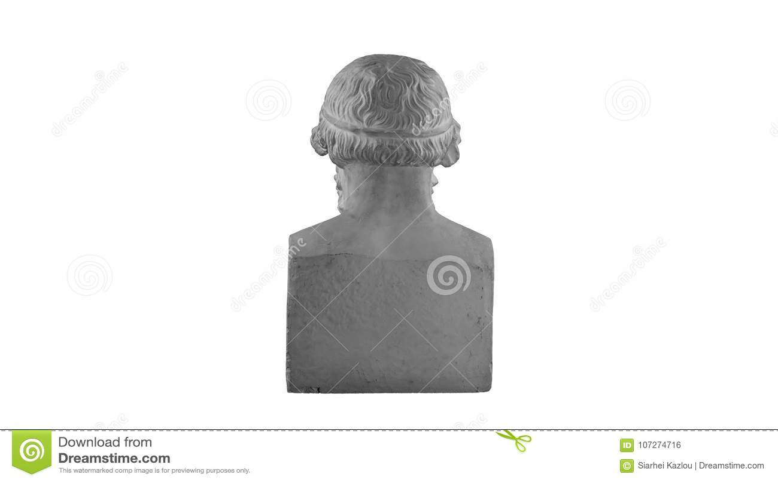 Vit murbrukstaty av bysten av filosofen Homer