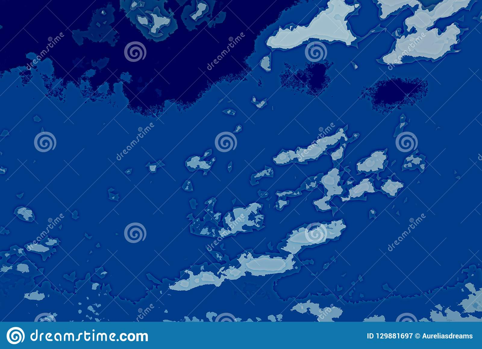 Vit och blå abstrakt bakgrundstextur Fantasiöversikt med norr shoreline, hav, hav, is, berg, moln
