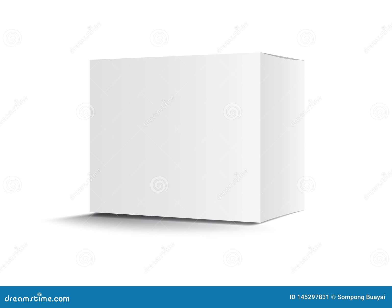 Vit packeaskvektor, packedesign, 3d ask, produktdesign, realistiskt förpacka för kosmetiskt eller medicinskt