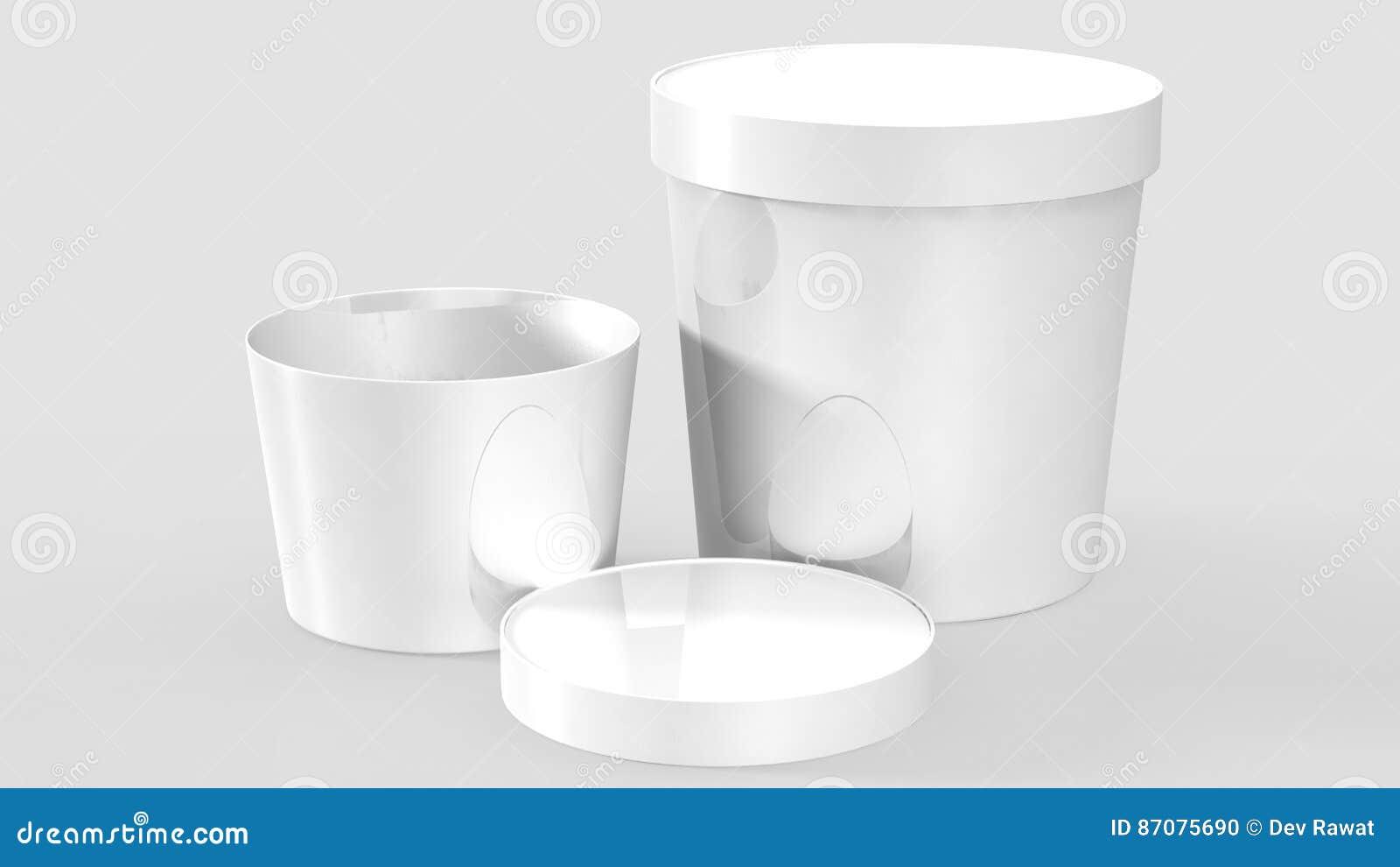 Vit plast- badar behållaren för efterrätt, yoghurt, glass, gräddfil eller mellanmål Ordna till för din design