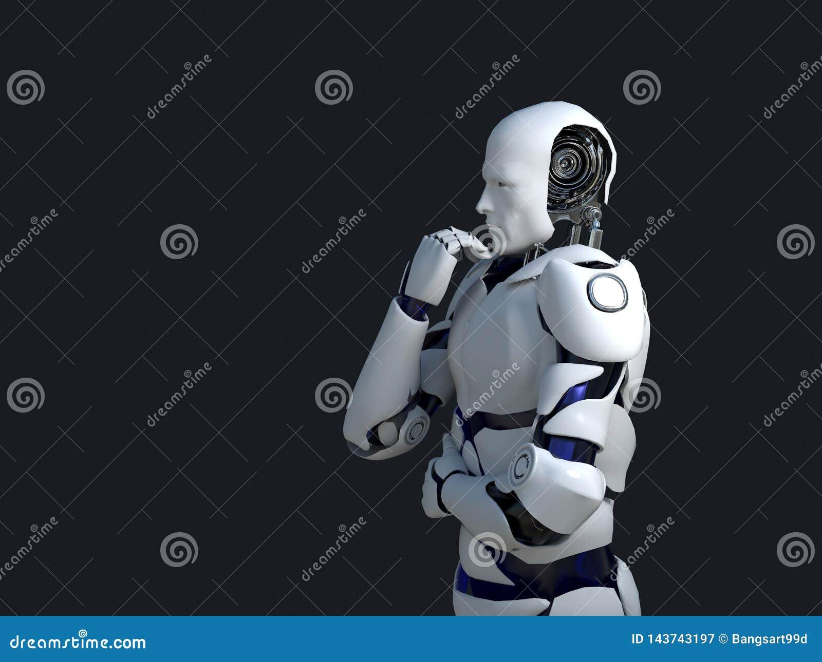 Vit robotteknologi som tänker och sannerligen dess haka teknologi i framtiden, på en svart bakgrund