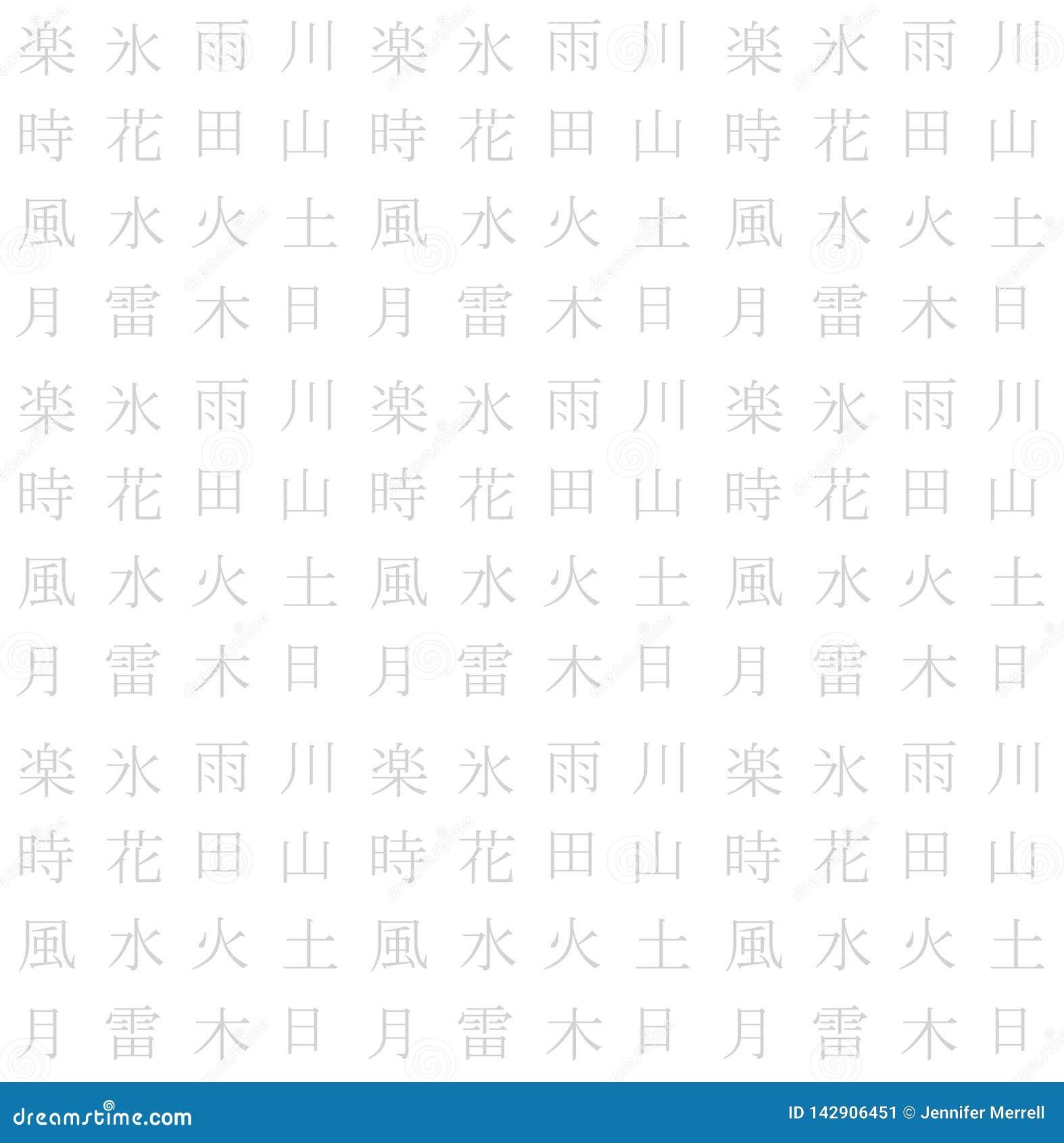 Vit sömlös asiatisk teckentextur
