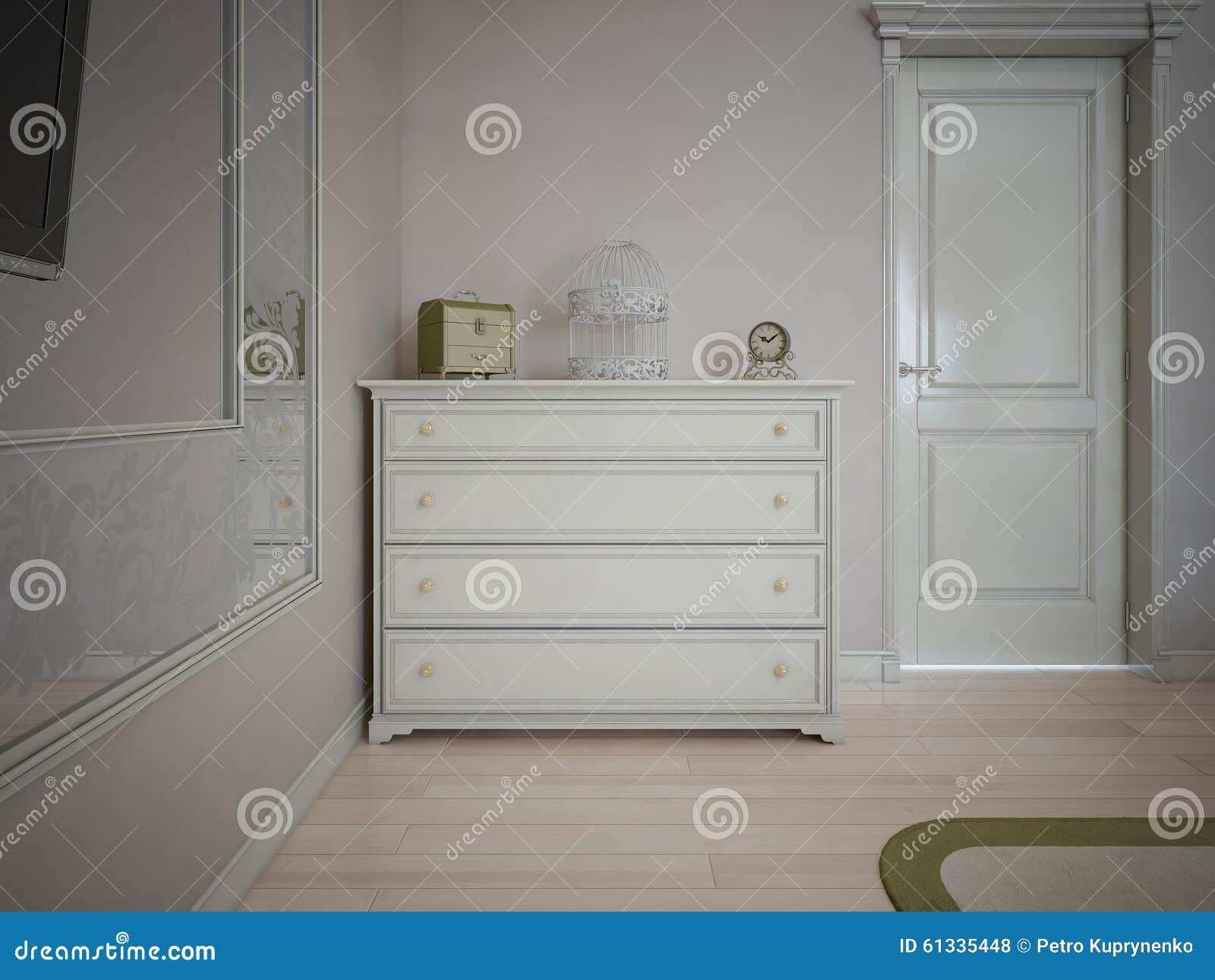 Vit skänk i sovrum med kräm  väggar stock illustrationer   bild ...