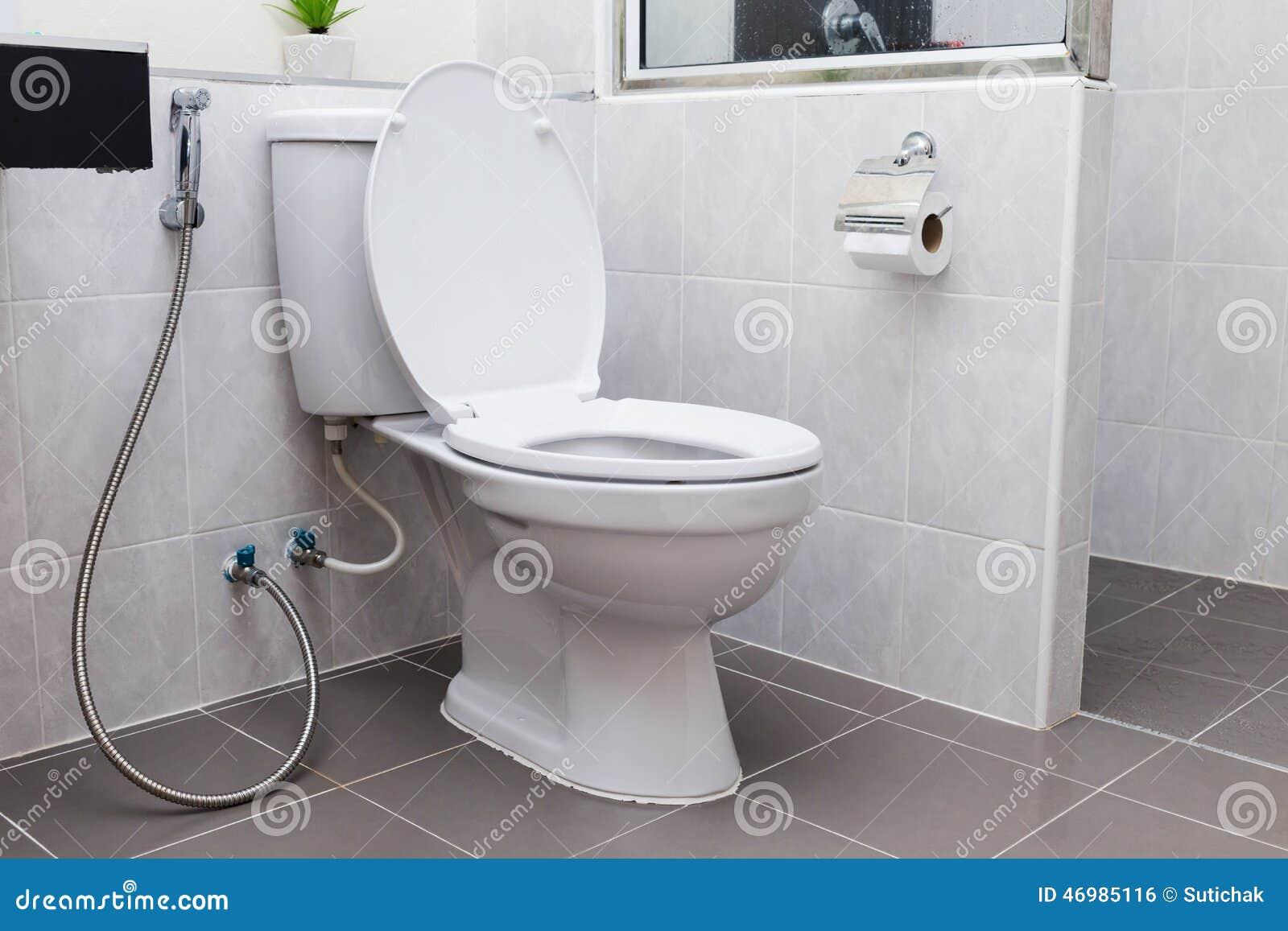 Vit slät toalett i modernt badrum arkivfoto   bild: 46985116
