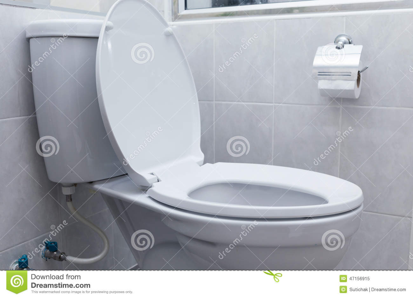 Vit slät toalett i modernt badrum arkivfoto   bild: 47156915