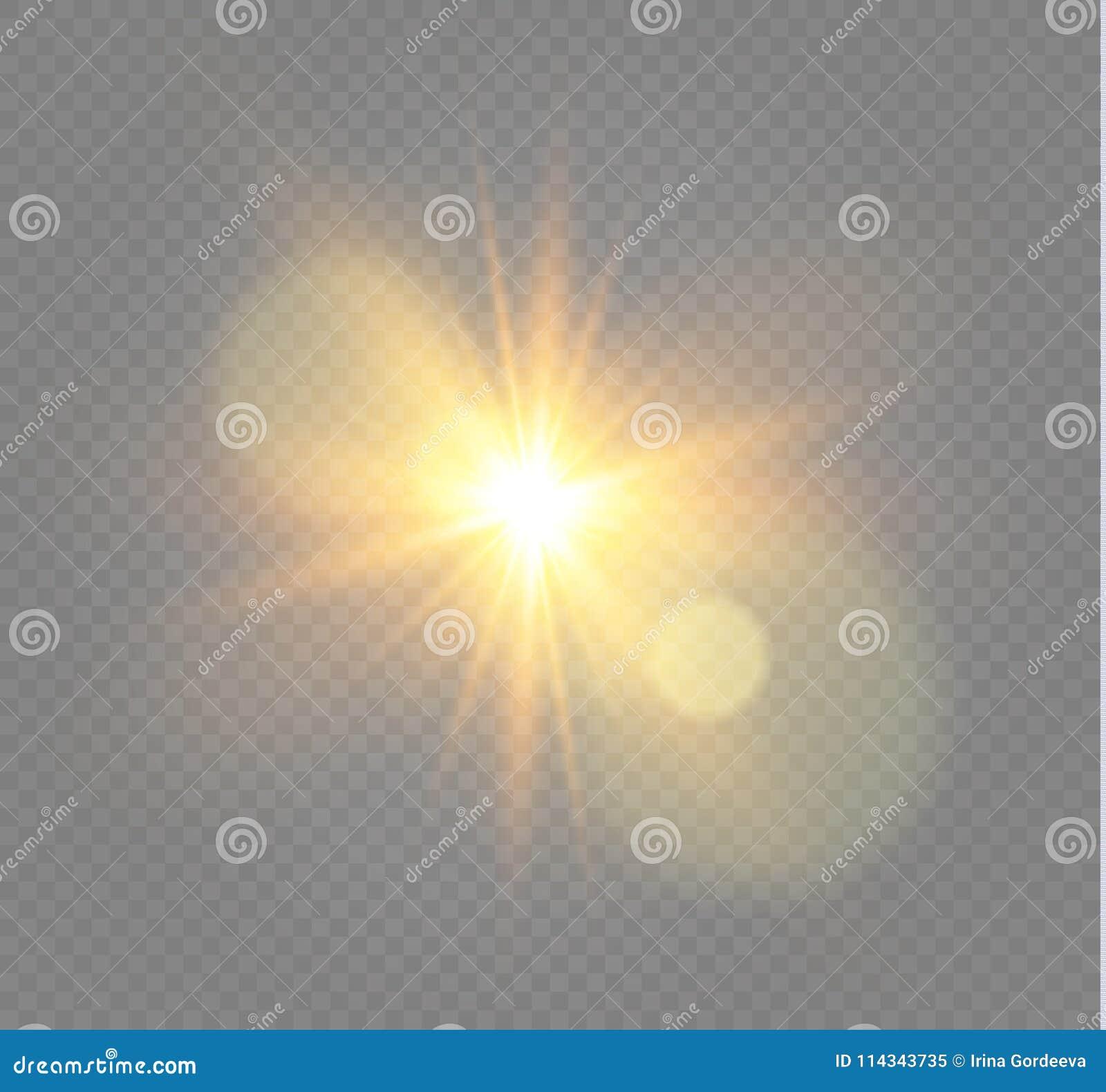 Vit som glöder ljus, exploderar på en genomskinlig bakgrund Vektorillustration av ljus garneringeffekt med strålen