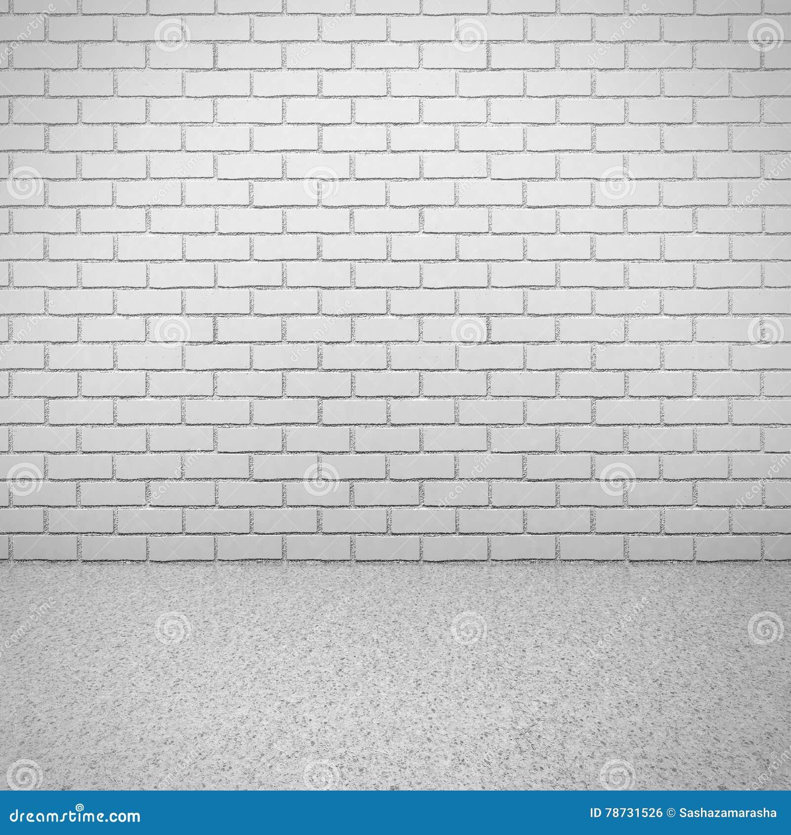 Vit tegelstenvägg med det konkreta golvet tom inre lokal