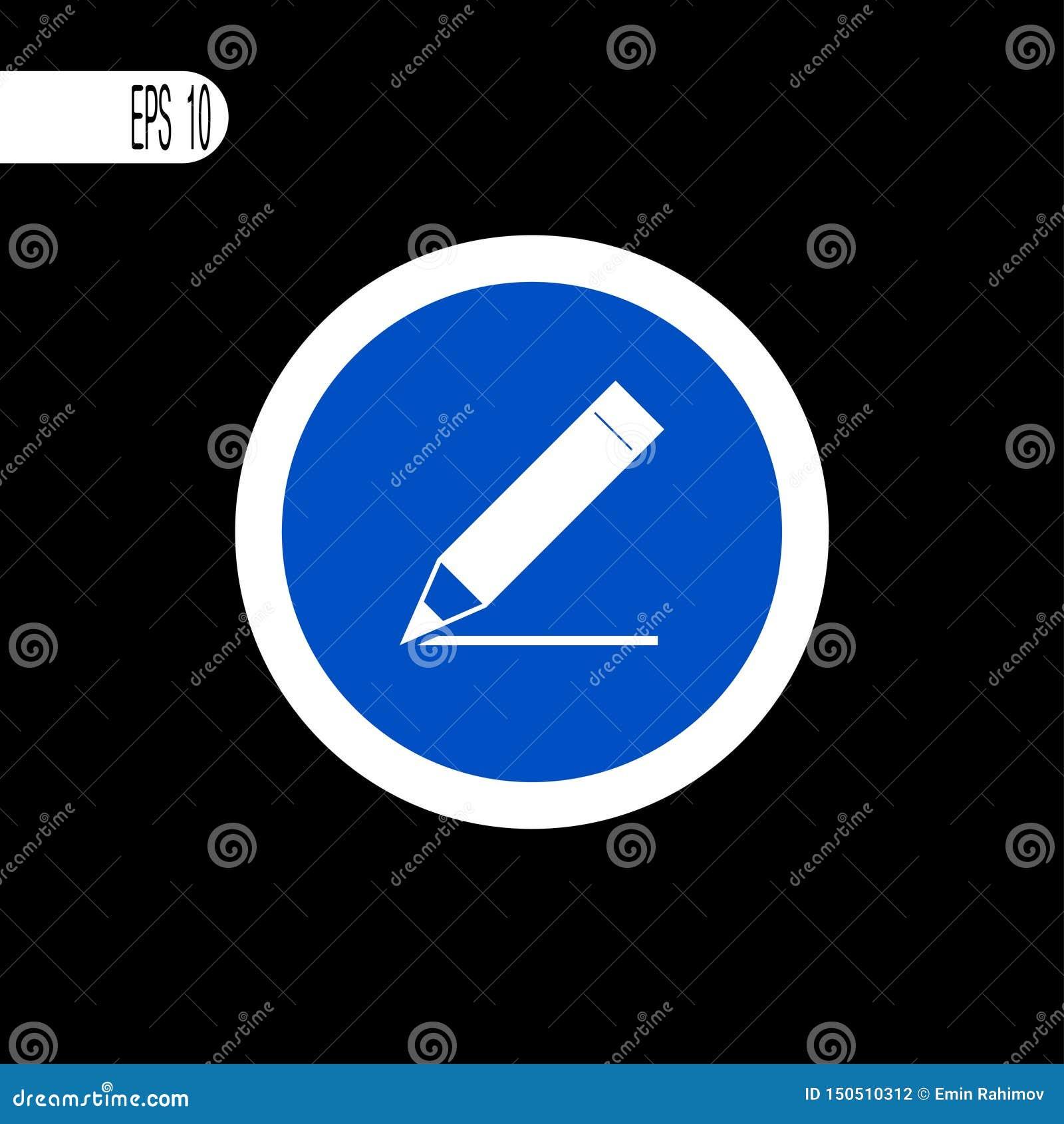 Vit tunn linje för runt tecken Penna blyertspennahandstiltecken, symbol - vektorillustration