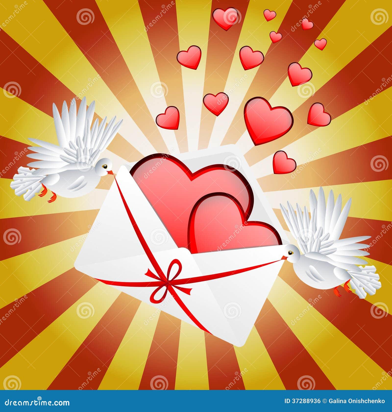 Vit två en duva är det burna kuvertet med hjärtor