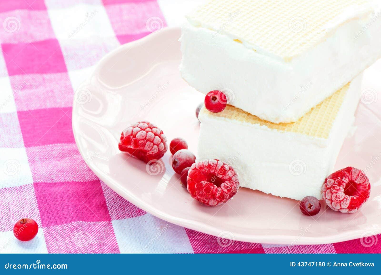 Vit vaniljglass med dillandear och hallon closeup