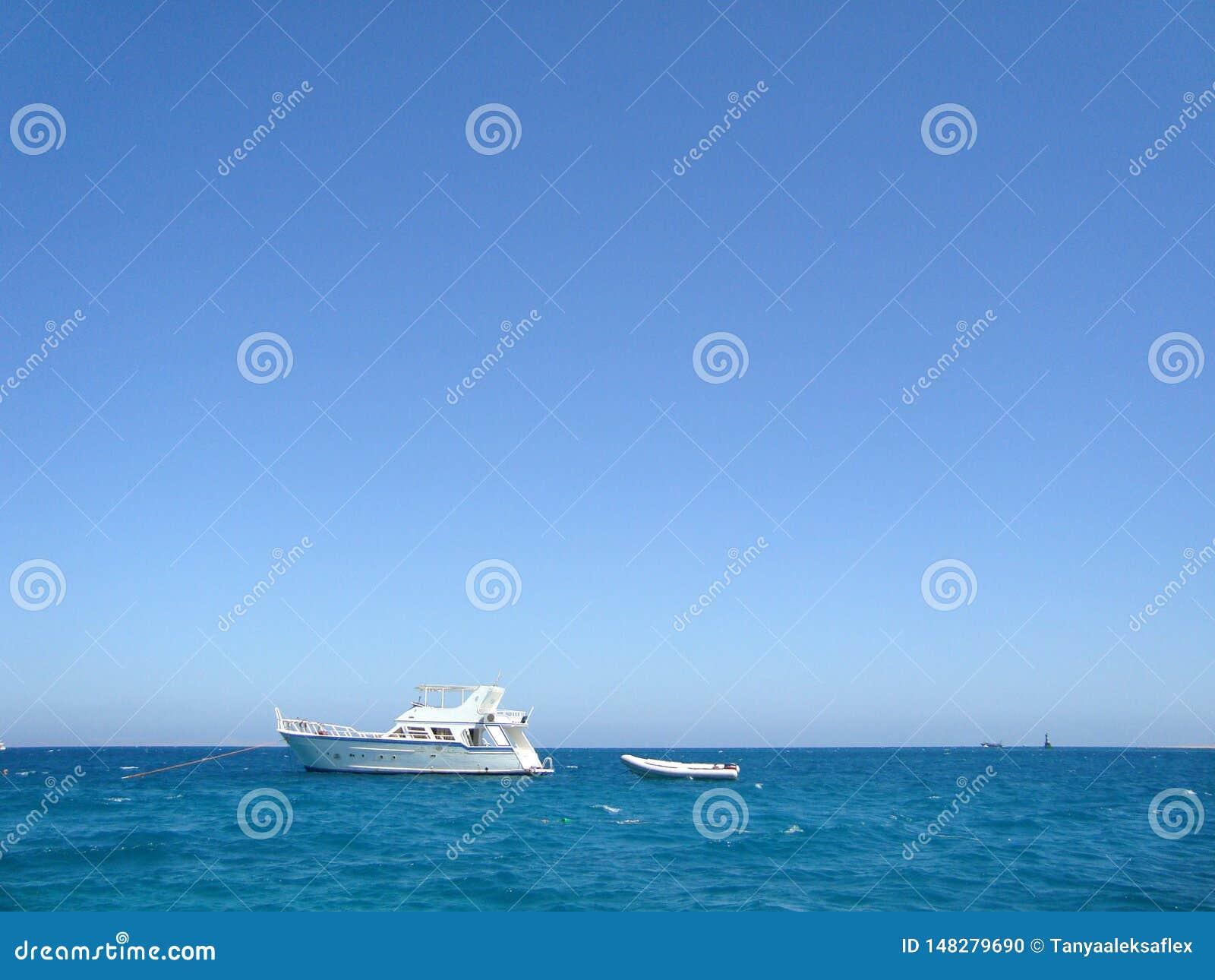Vit yacht i det ?ppna havet