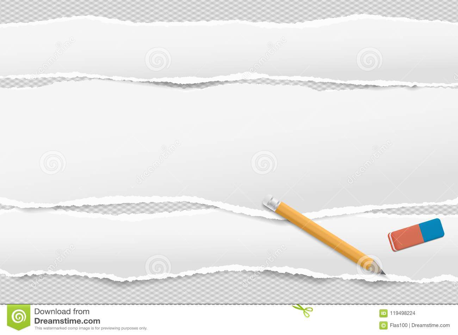 Vita avlånga pappers- remsor med den sönderrivna kanten i horisontalpositionspapper för anmärkningen som förläggas på kvadrerad b