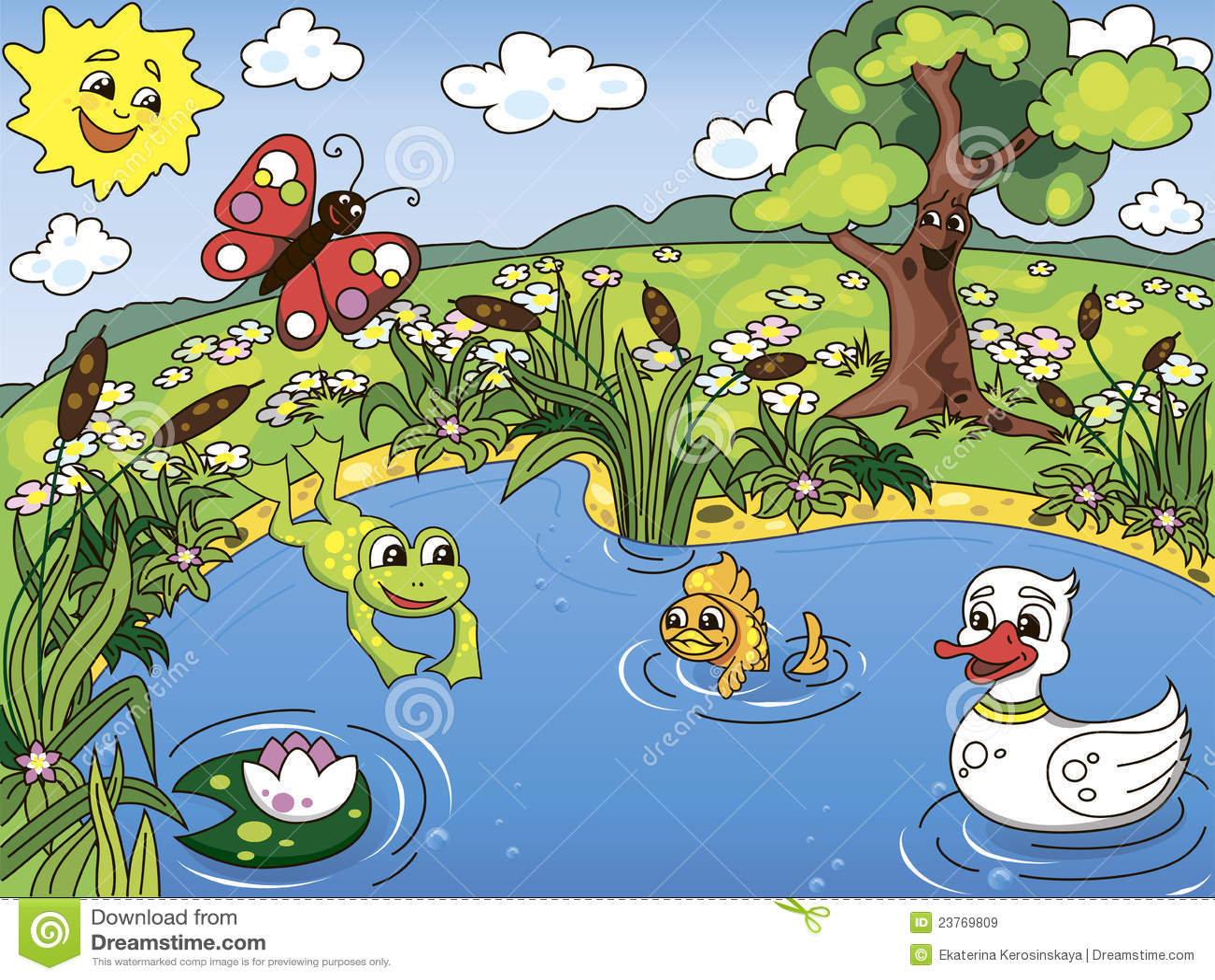 Vita dello stagno illustrazione vettoriale illustrazione for Pesci stagno