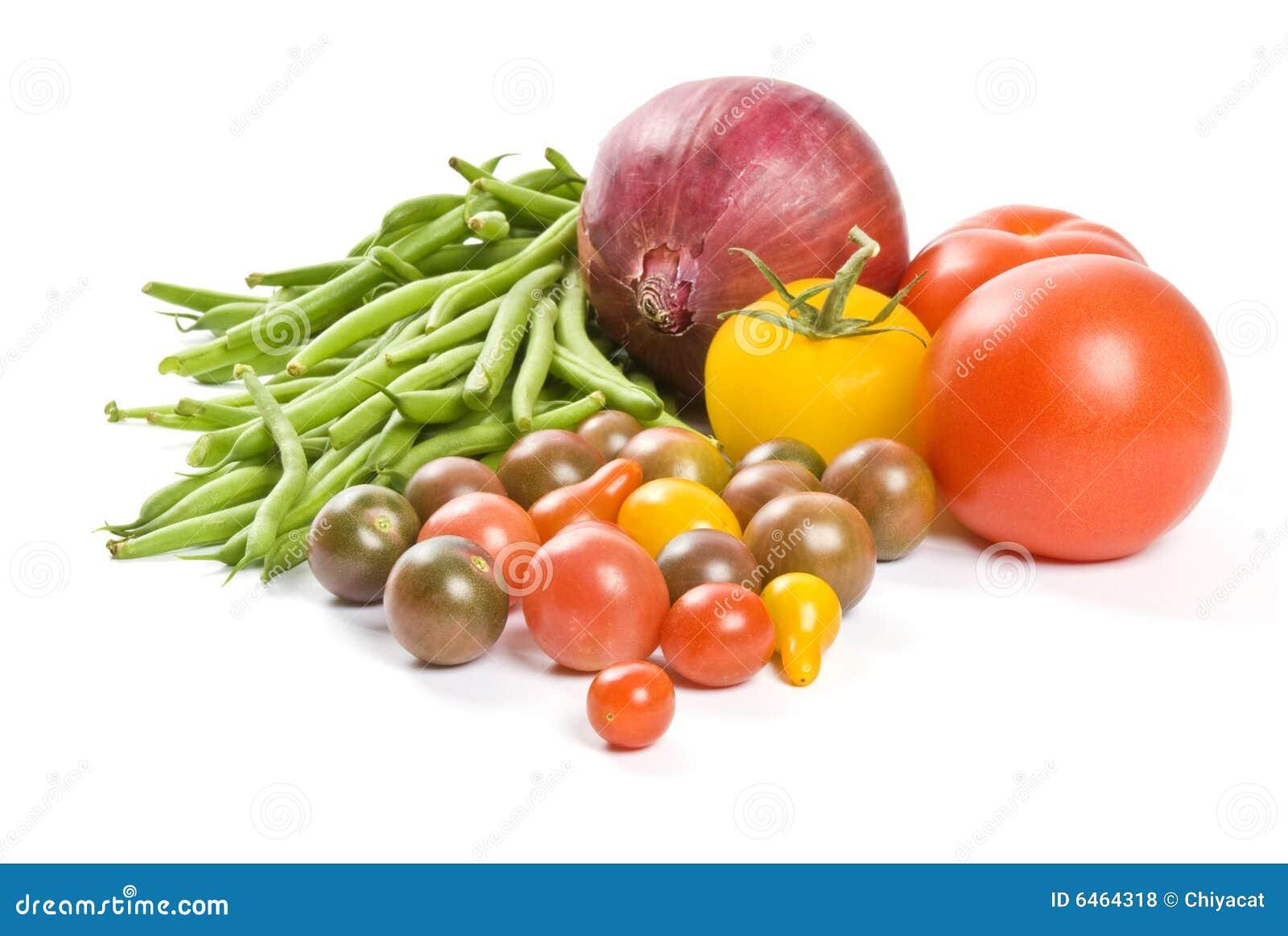 Vita färgrika isolerade grönsaker