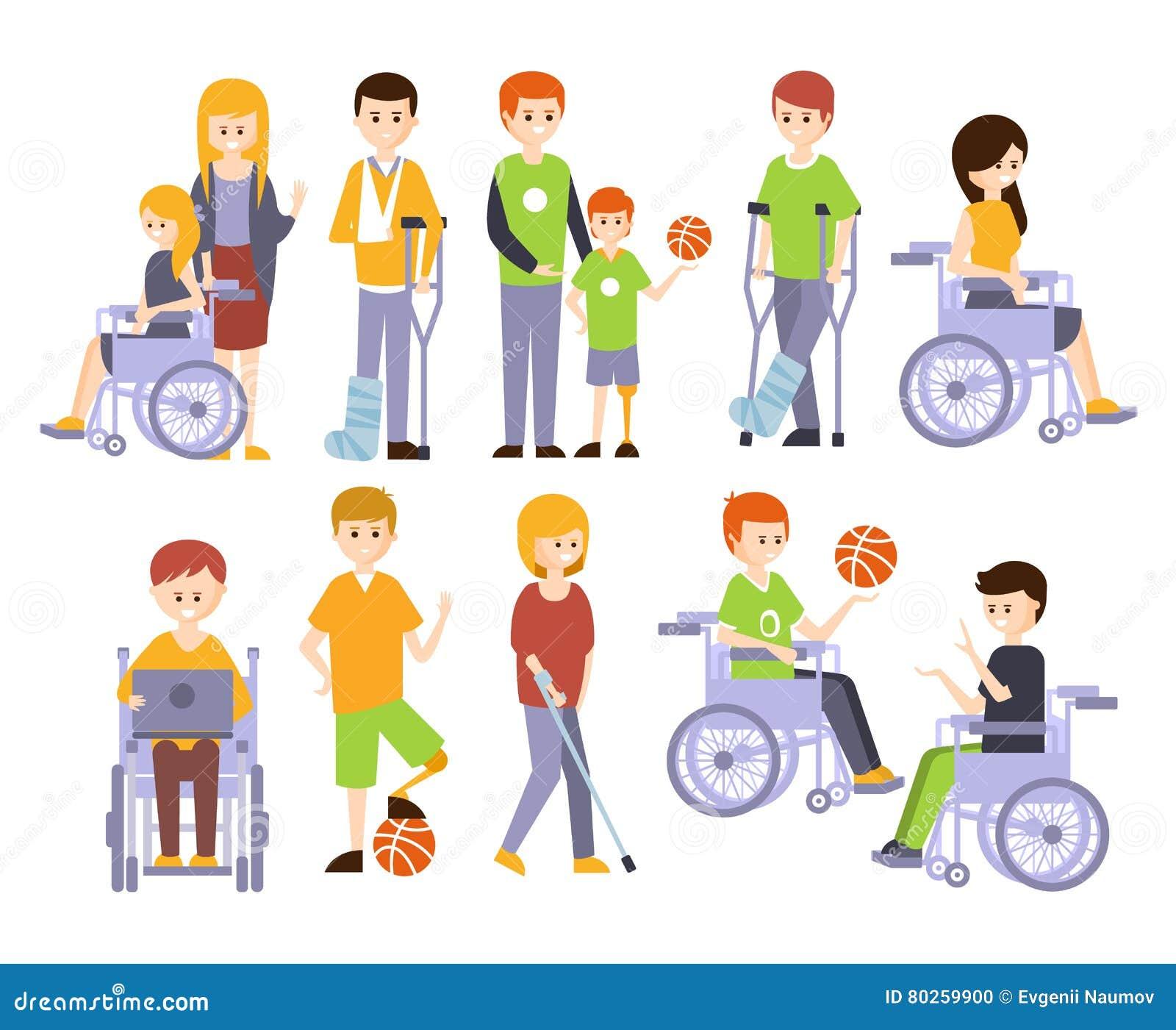 Vita felice completa vivente fisicamente handicappata della gente con l insieme di inabilità delle illustrazioni con gli uomini d