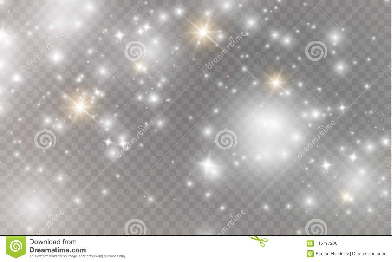 Vita gnistor och guld- stjärnor blänker special ljus effekt Vektorn mousserar på genomskinlig bakgrund Jul