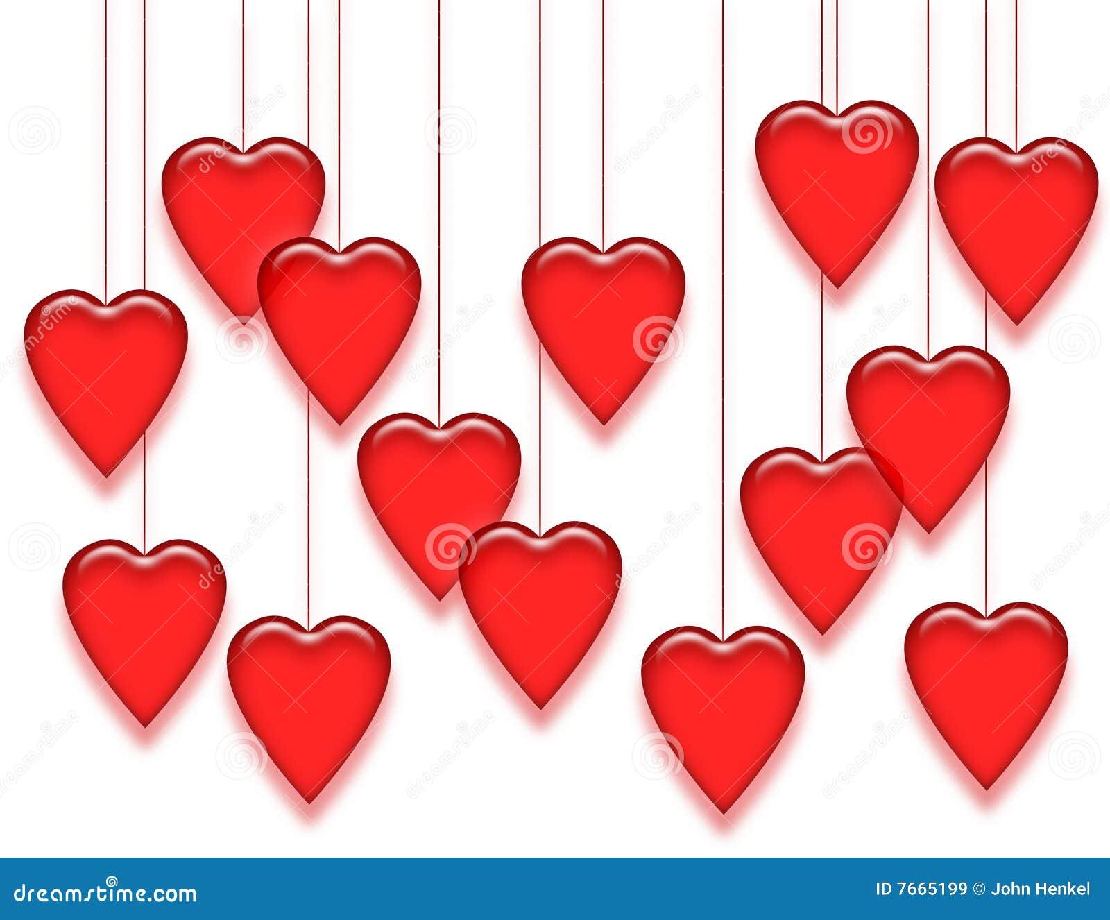 Vita hängande hjärtor