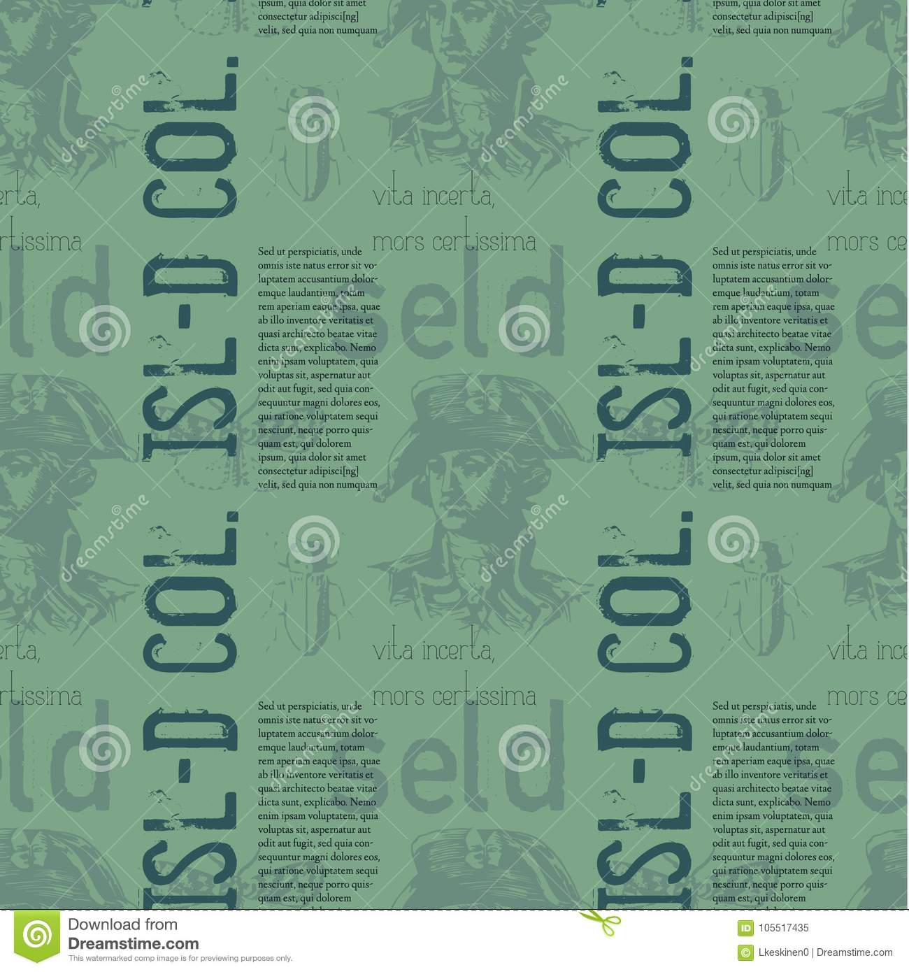 Vita Incerta, Mors Certissima Vintage Design Pattern Stock Vector