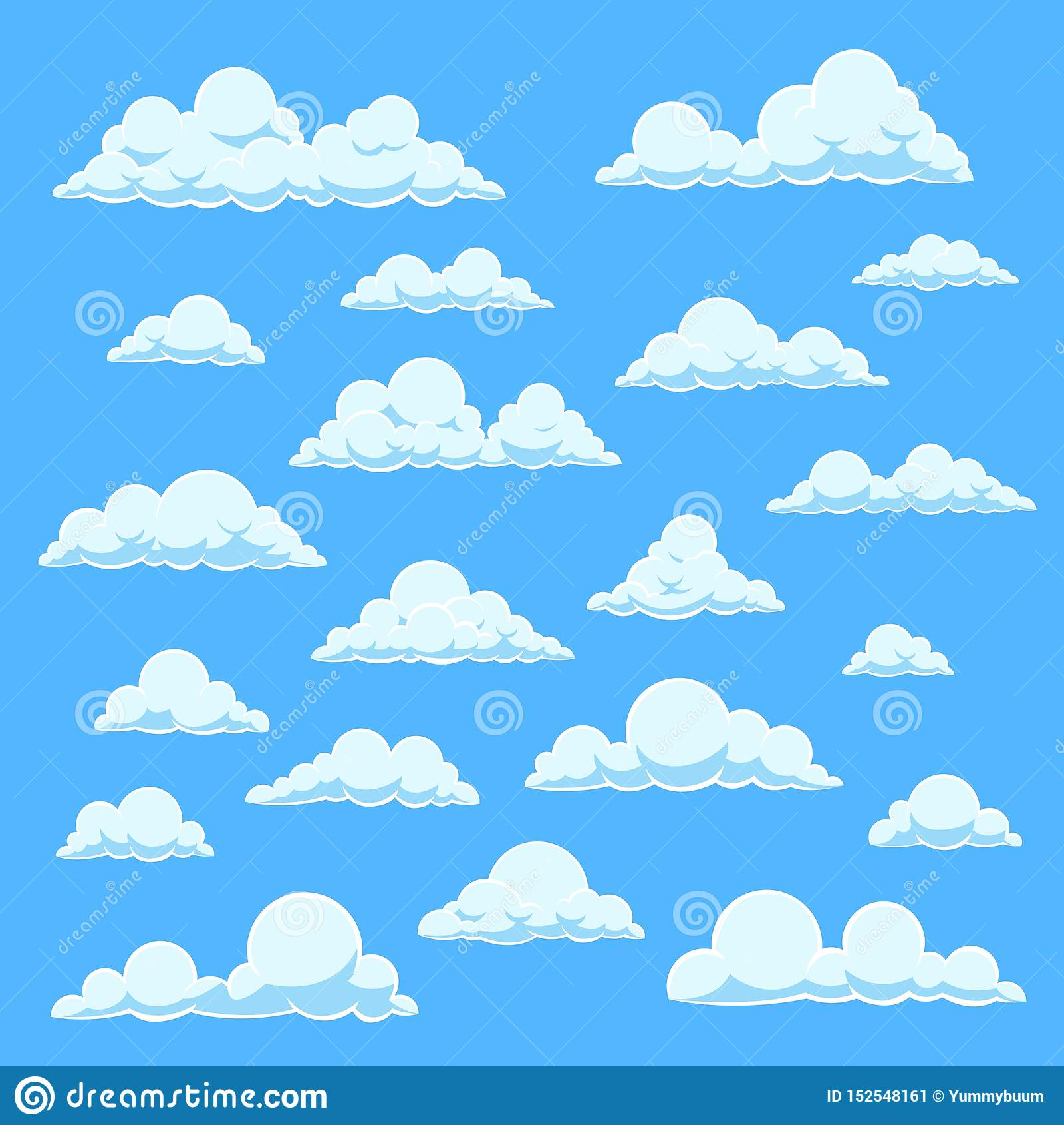 Vita moln för tecknad film Blå himmel med olika molnformer Gullig sommarcloudscape, molnig landskapvektorhumorbok
