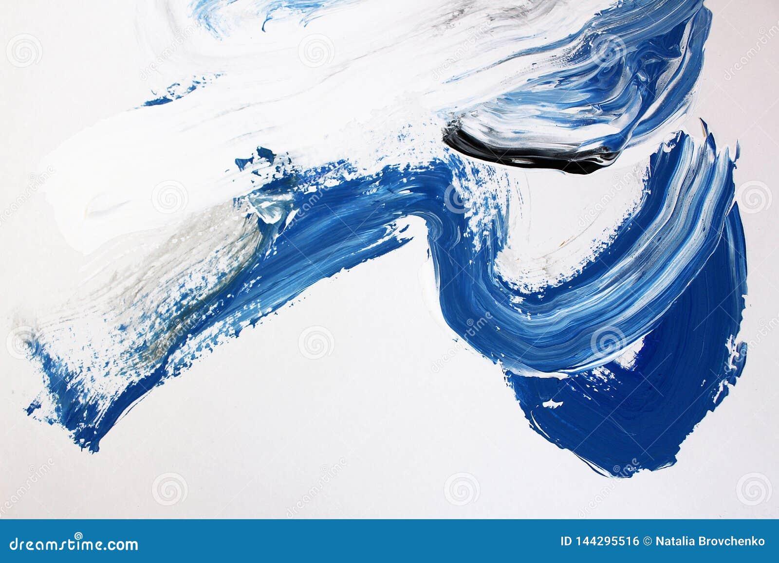 Vita och blåa borsteslaglängder på kanfas abstrakt konstbakgrund F?rgtextur Fragment av konstverk abstrakt kanfasm?lning