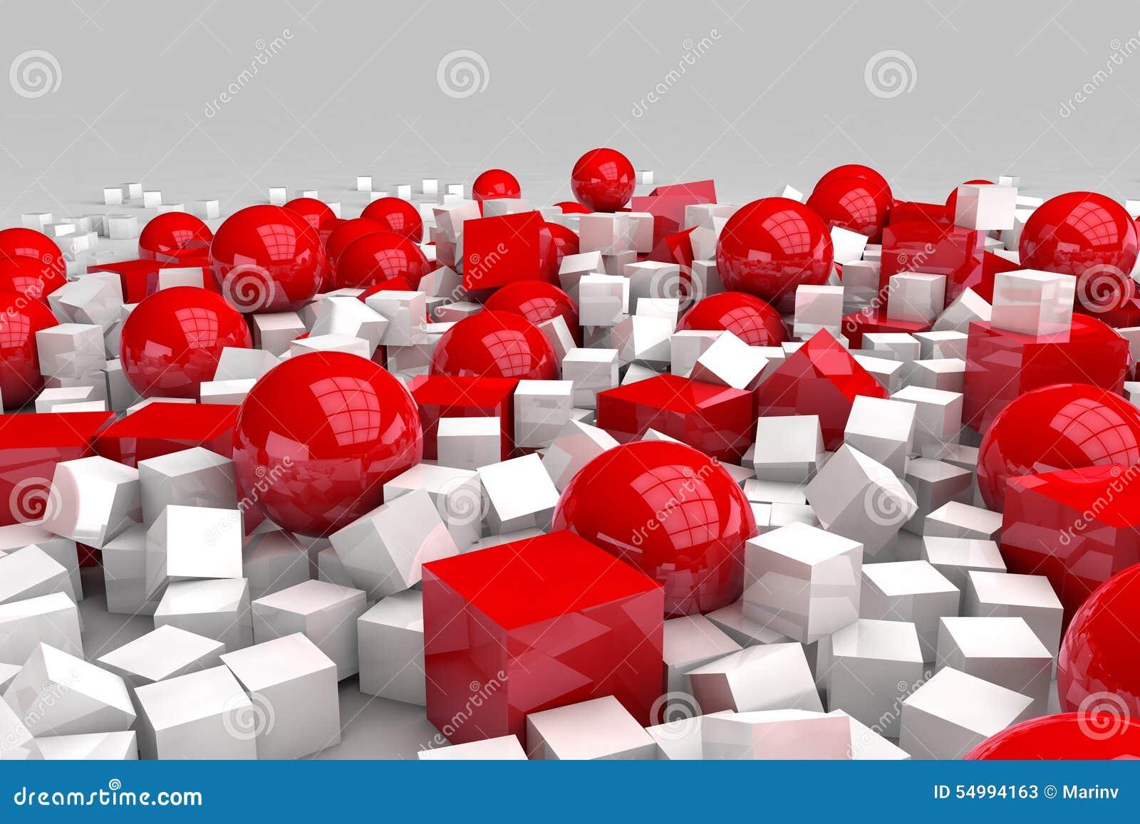 Vita och röda bollar och kuber