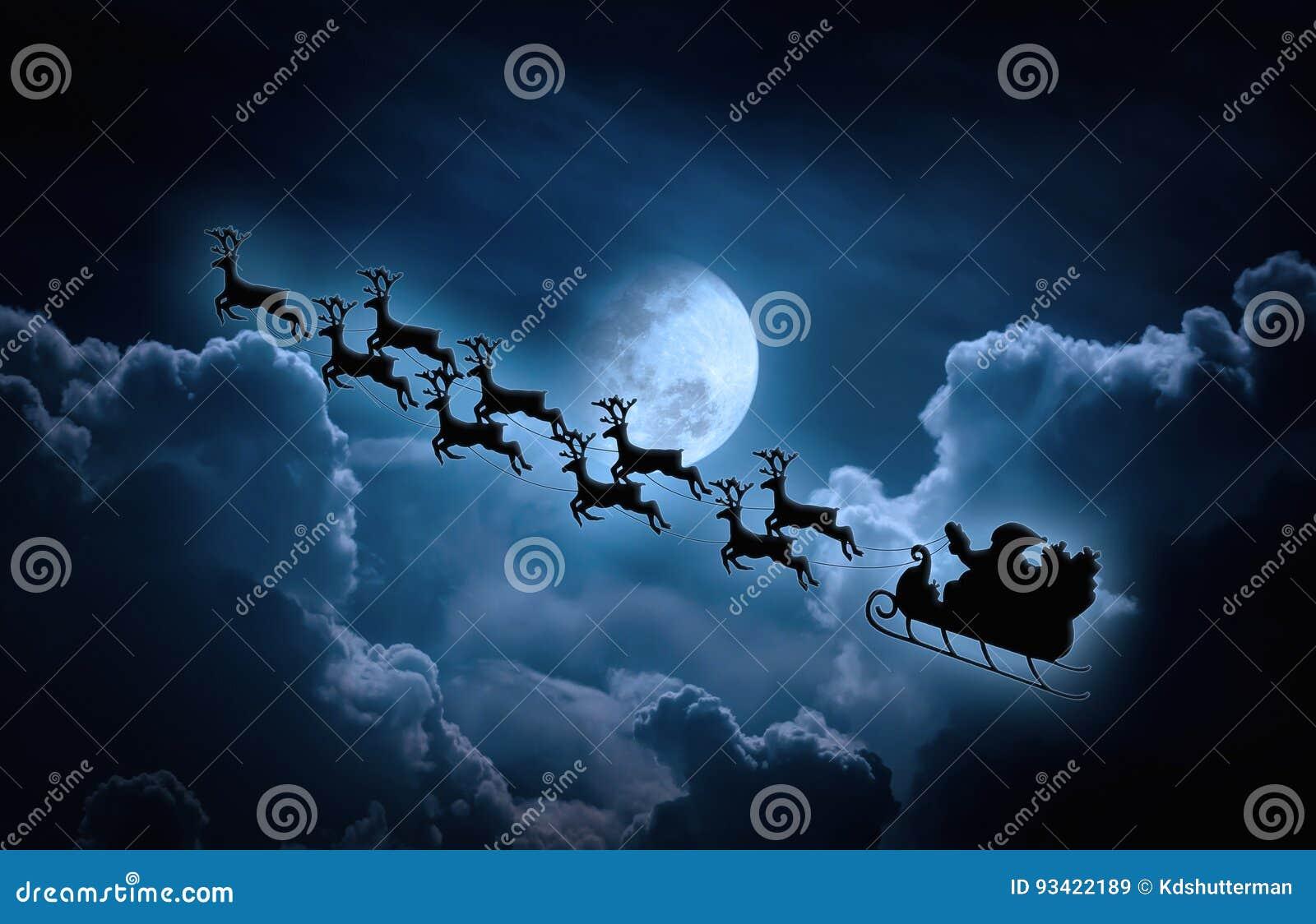 Vita röda stjärnor för abstrakt för bakgrundsjul mörk för garnering modell för design Kontur av det Santa Claus flyget på en slei