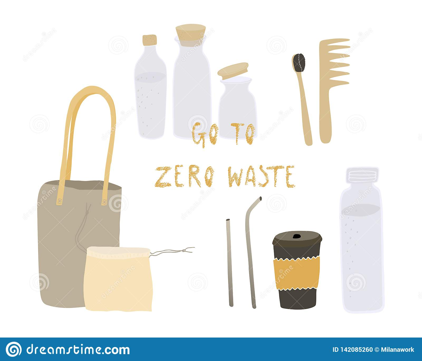 Vita residua zero Stile di Eco nessuna plastica va il verde Cose riutilizzabili Oggetti di vettore messi Illustrazione disegnata