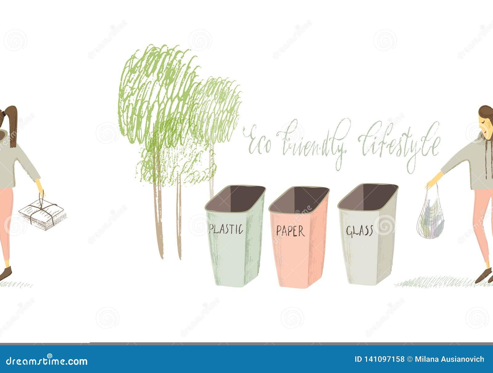 Vita residua zero Stile di Eco nessuna plastica va il verde Ragazza stilizzata Illustrazione disegnata a mano di vettore