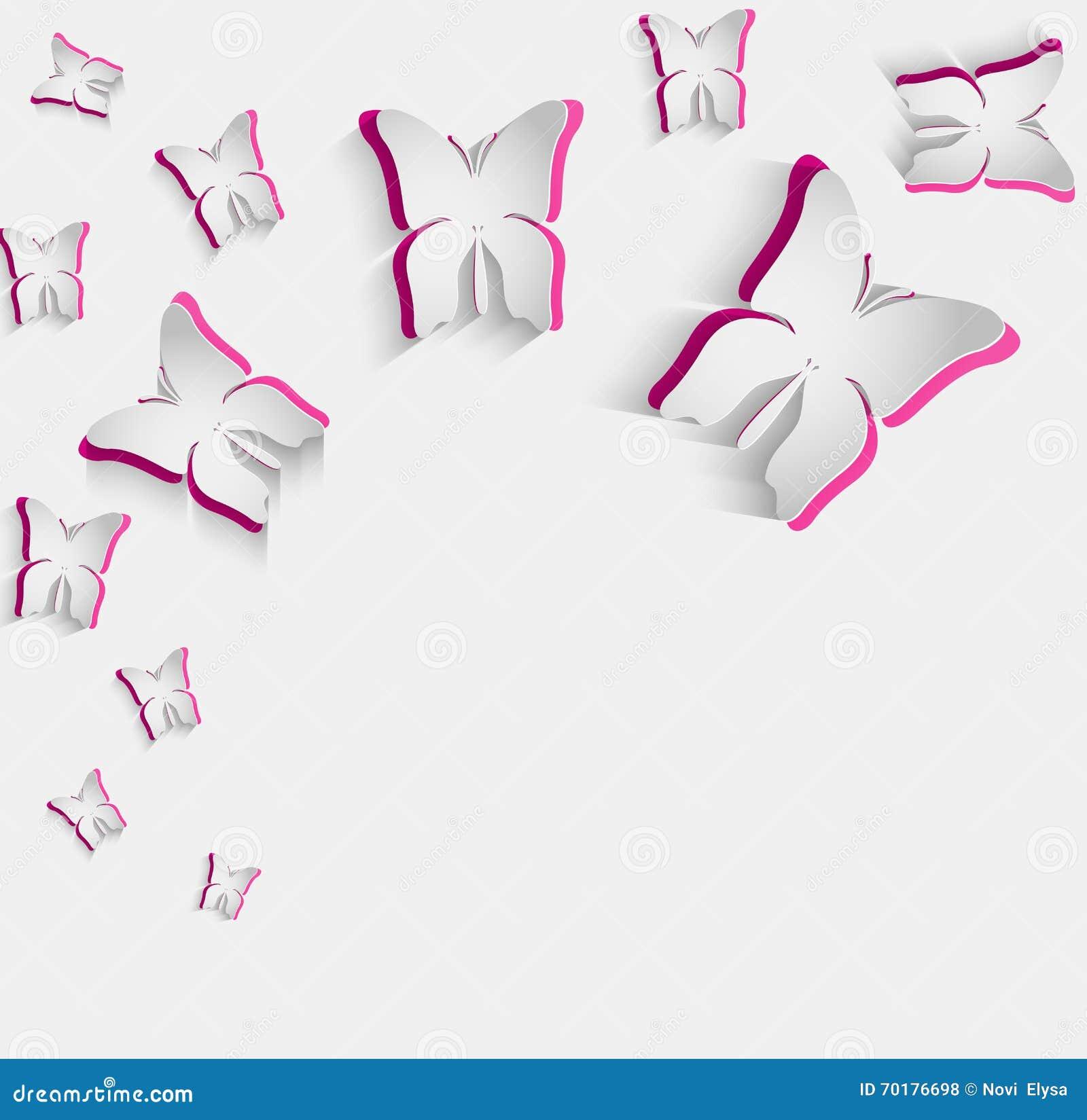 Vita rosa färger skyler över brister fjärilen på grå färger isolerad bakgrund