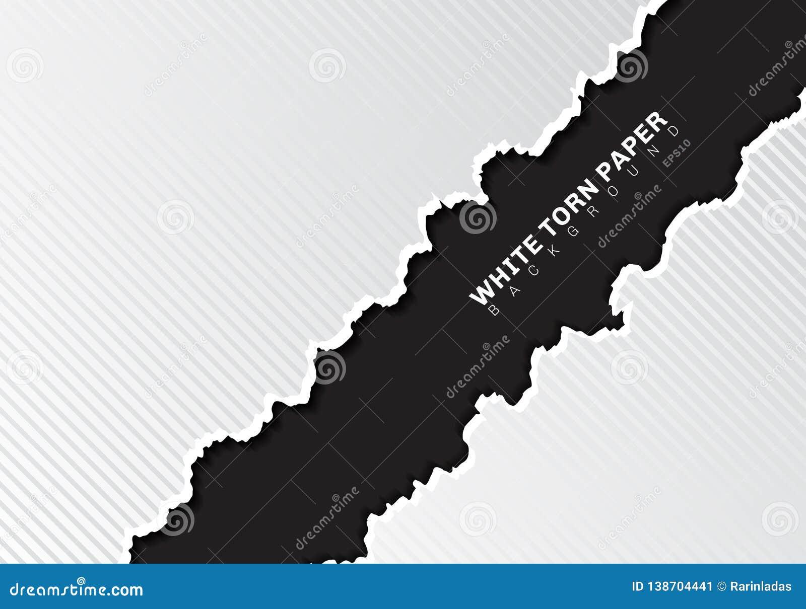 Vita sönderrivna pappers- kanter med diagonala linjer textur för skugga och för modell på svart bakgrund med kopieringsutrymme