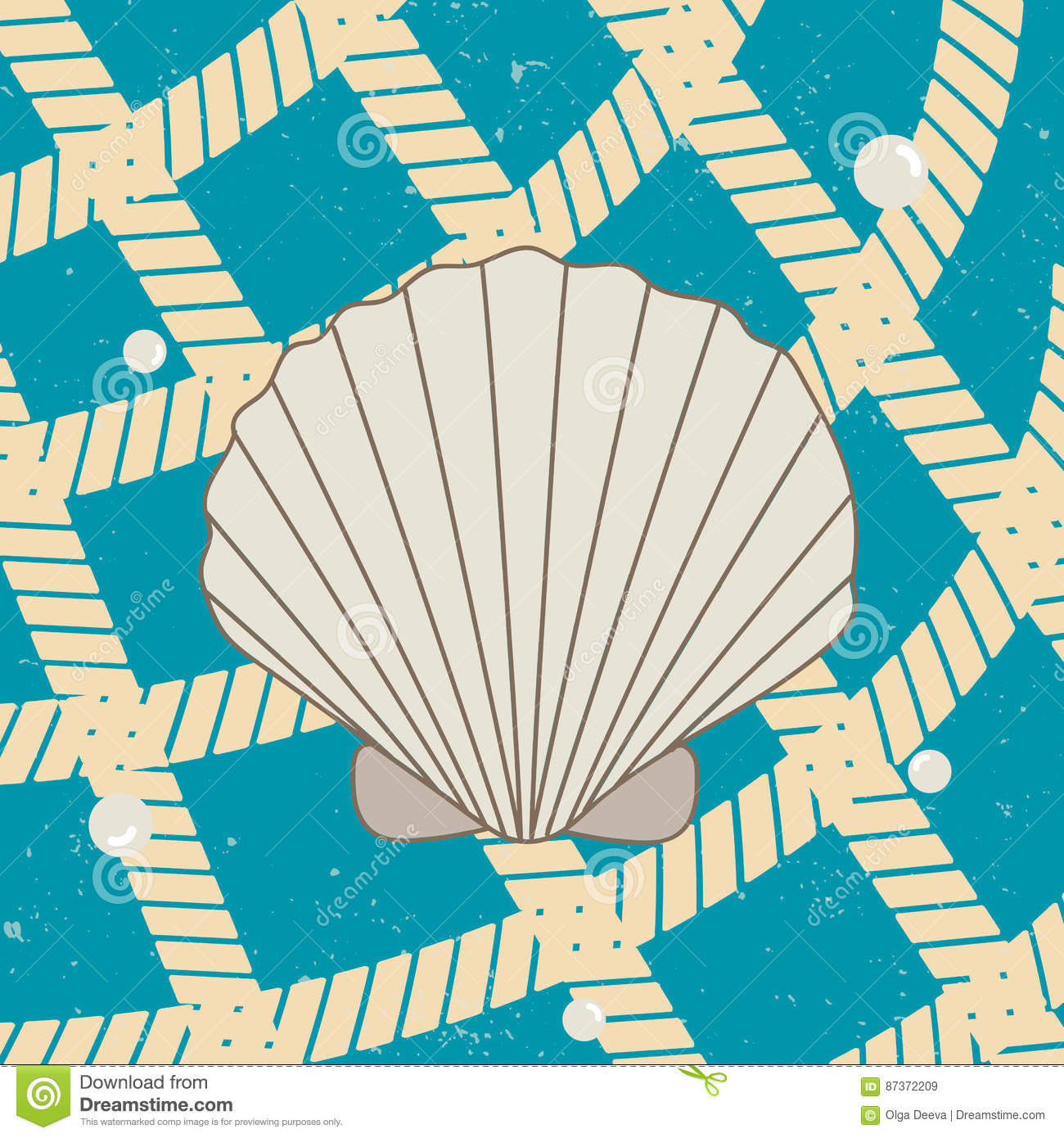 Vitage Poster with Seashell, Pearls and Net