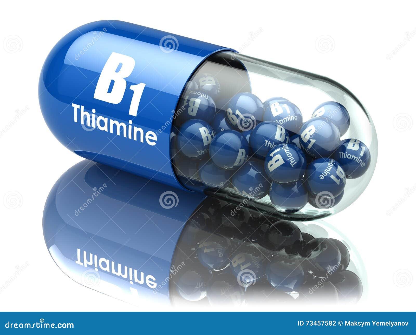 Vitamin B1 Capsule. Pill With Thiamine. Dietary ...