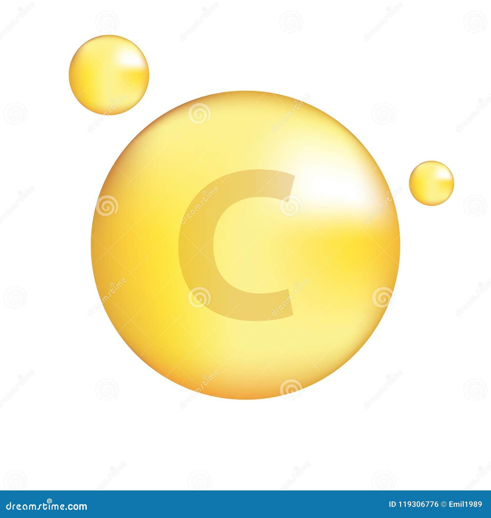Vitamin C Gold Icon Stock Illustration Illustration Of Concentrate